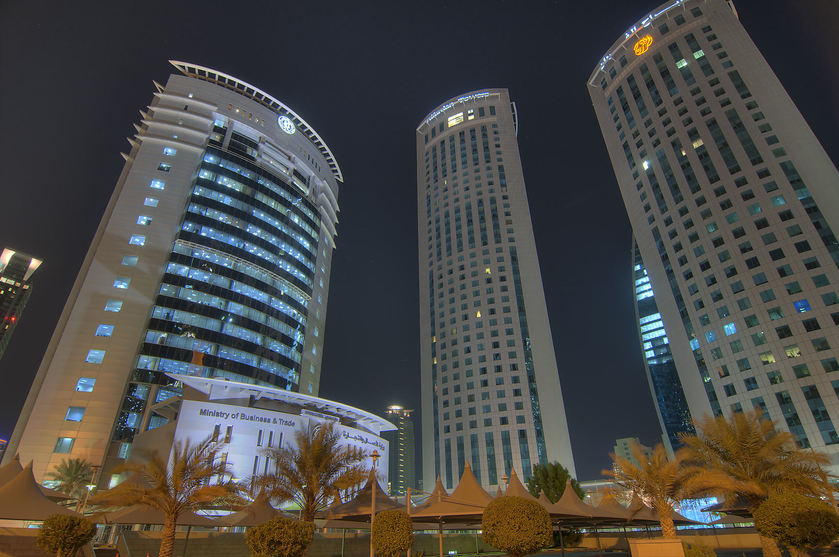 Ministry of Business and Trade and Al Fardan Towers in West Bay. Doha, Qatar