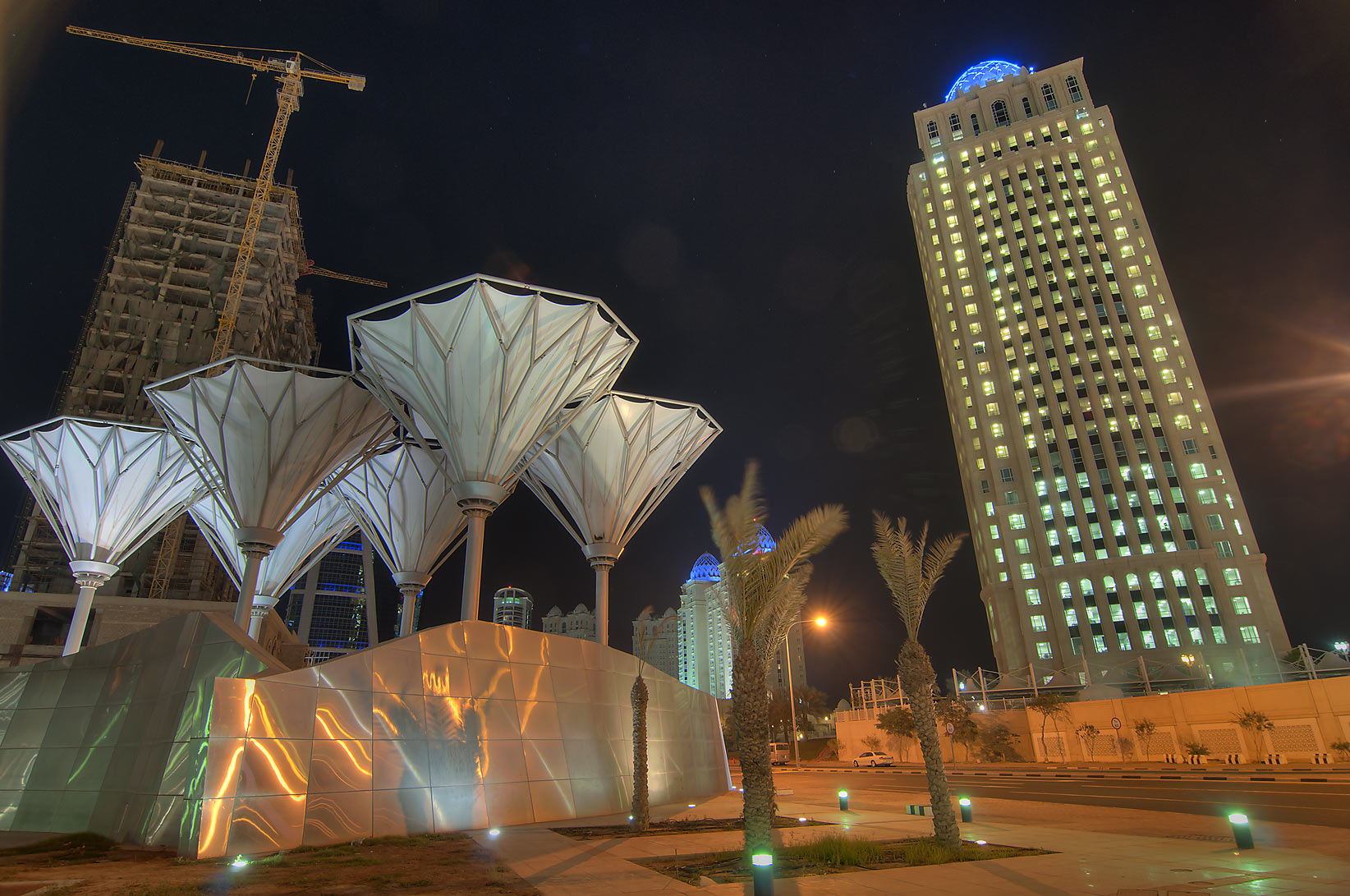 Exhibition Roundabout and Qtel Tower in West Bay. Doha, Qatar