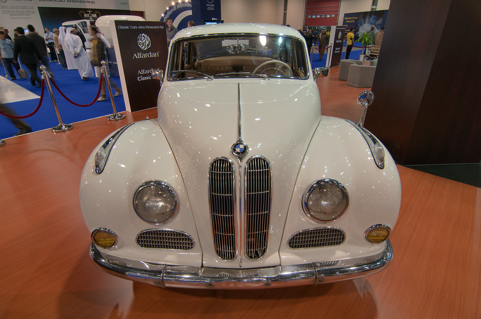 Old white car at Qatar Motor Show. Doha, Qatar