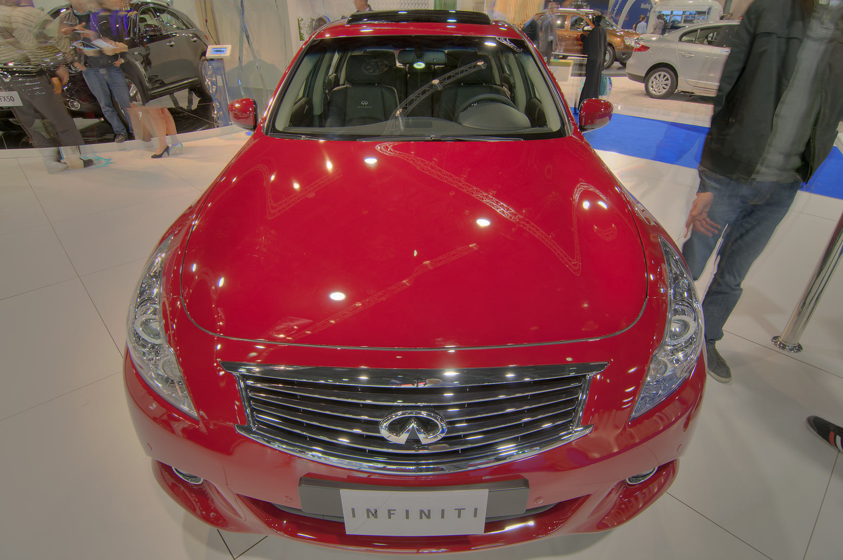"Red car ""Infinity"" at Qatar Motor Show. Doha, Qatar"