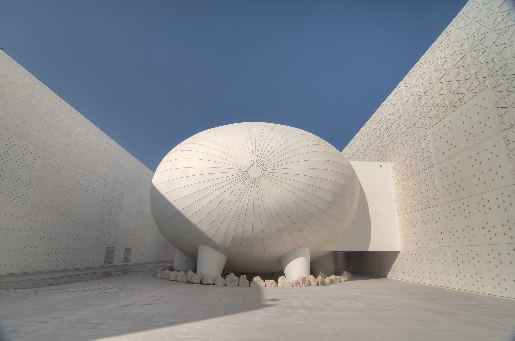 Ovoid lecture hall of Weill Cornell Medical College in Education City. Doha, Qatar