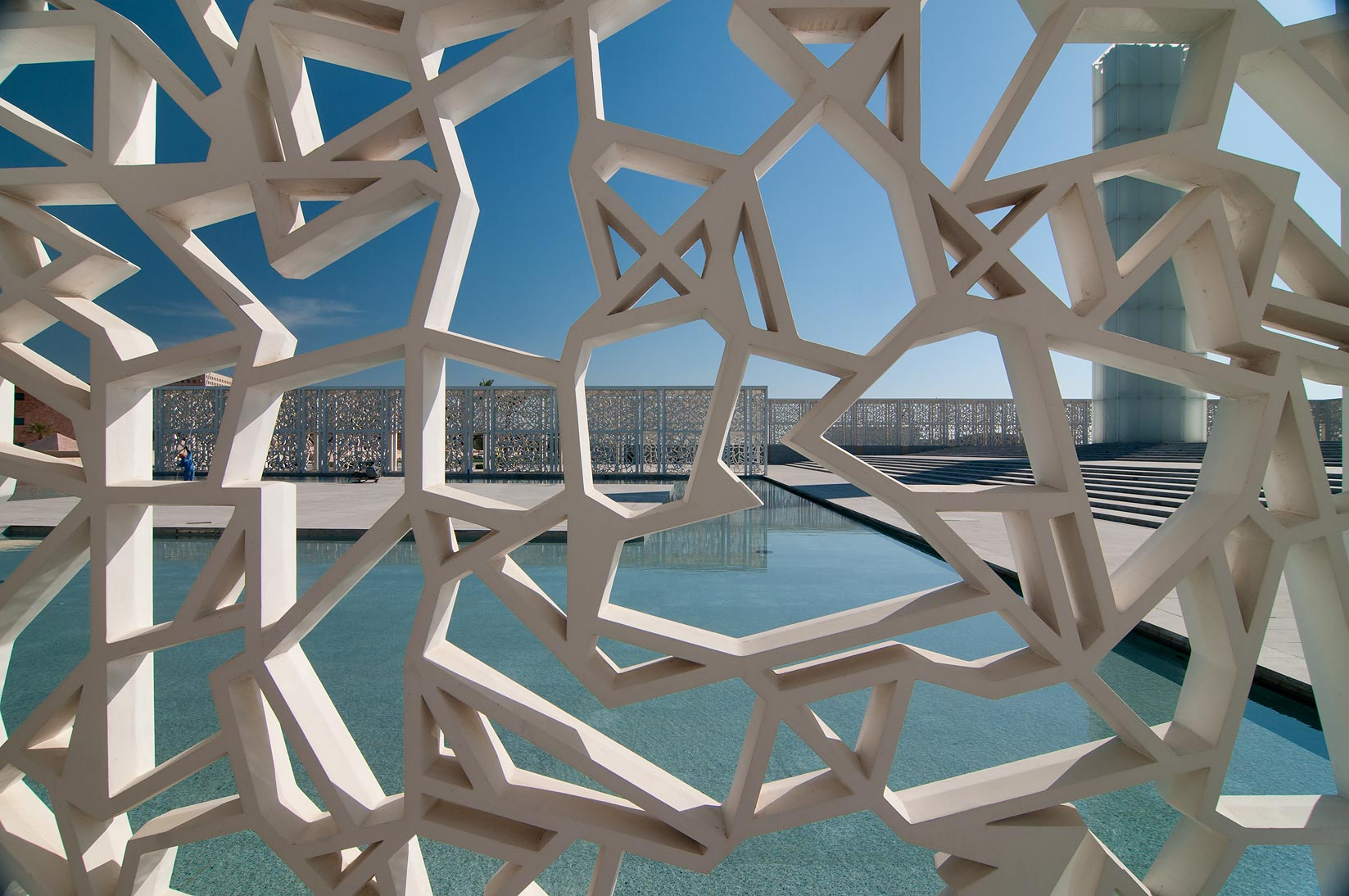 Latticework of shaded walkway of Ceremonial Court in Education City. Doha, Qatar