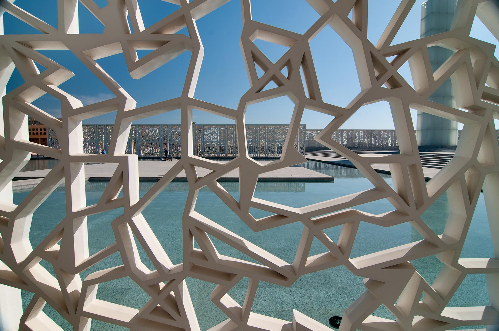 Latticework of shaded passage of Ceremonial Court passage in Education City. Doha, Qatar