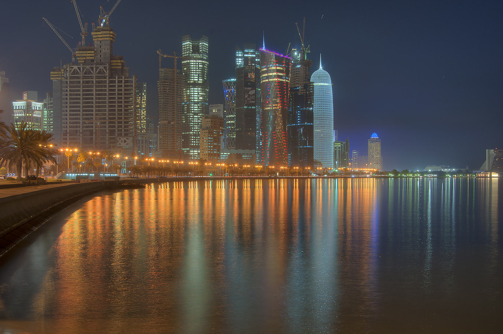 View of West Bay from Corniche at morning. Doha, Qatar
