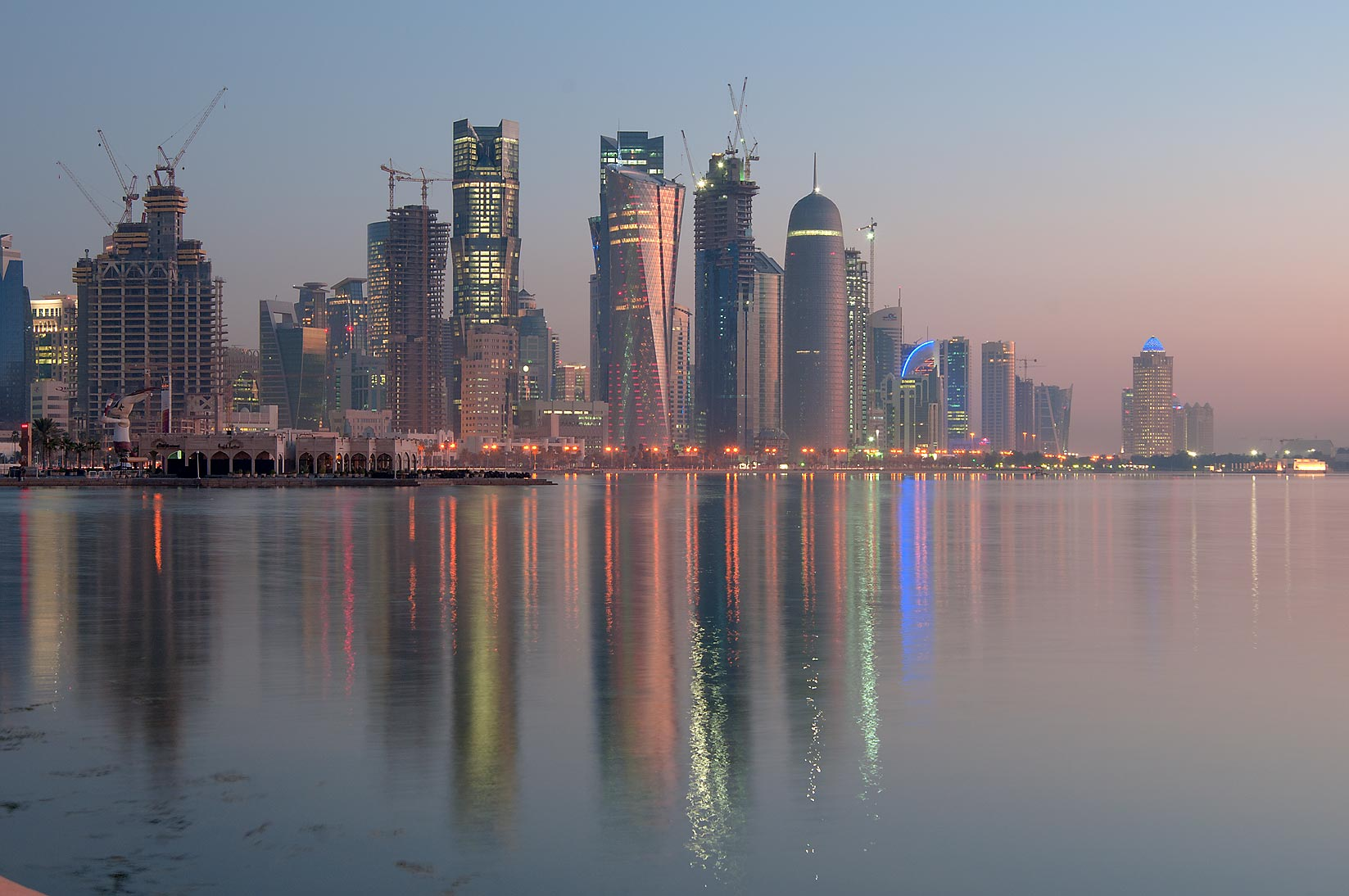View of West Bay from Corniche at sunrise. Doha, Qatar