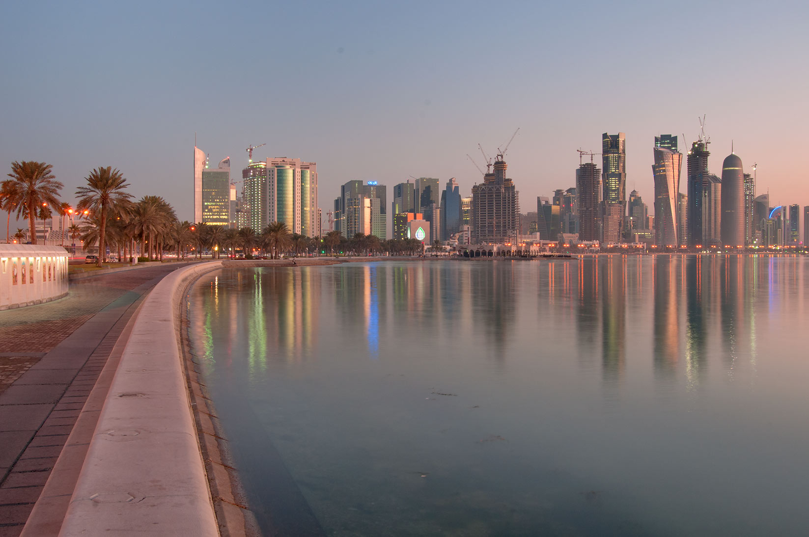 View of West Bay from Corniche, at Al Bida Roundabout. Doha, Qatar