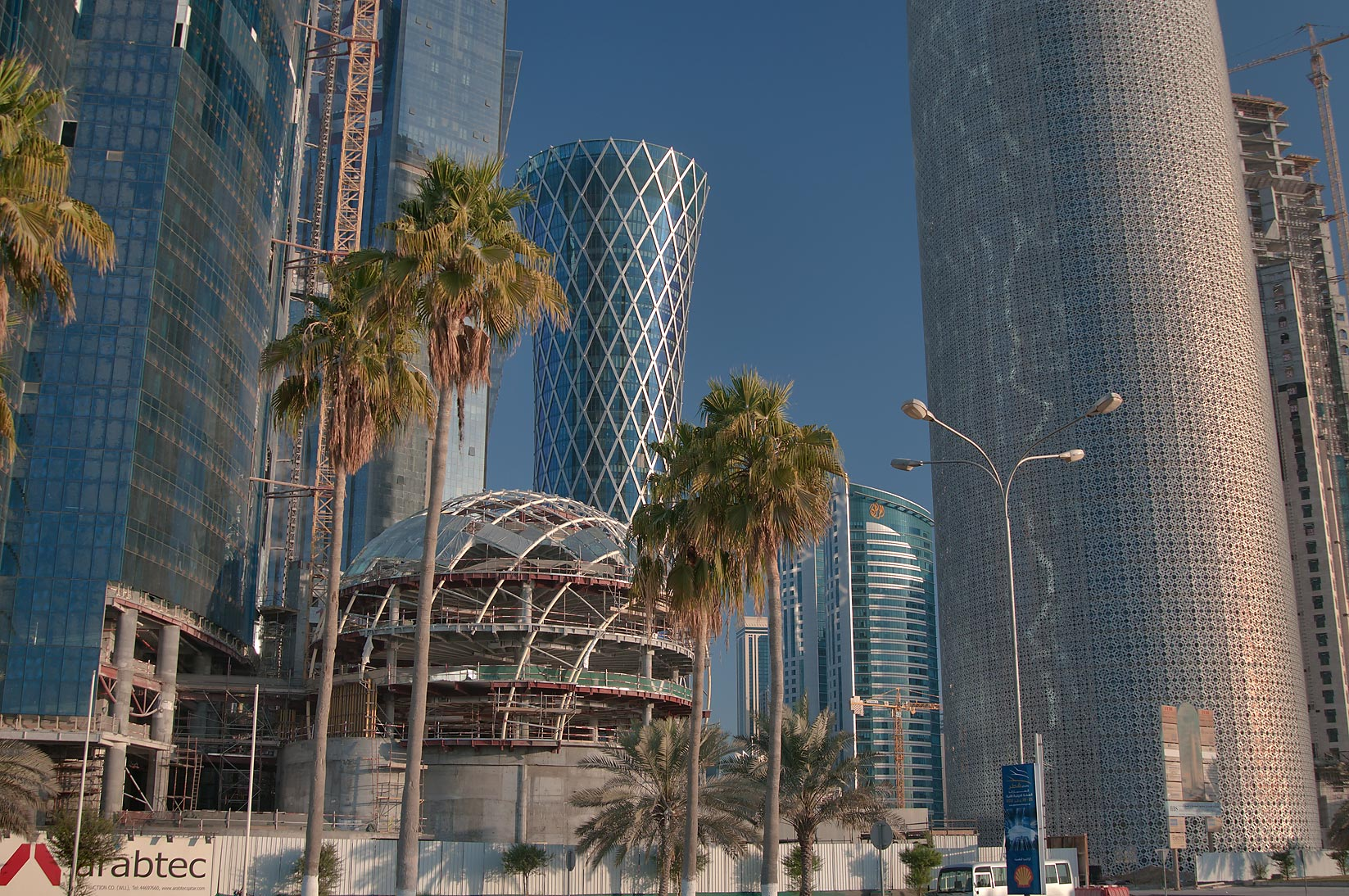 Globular structure near Burj Qatar Tower, view from Corniche. Doha, Qatar