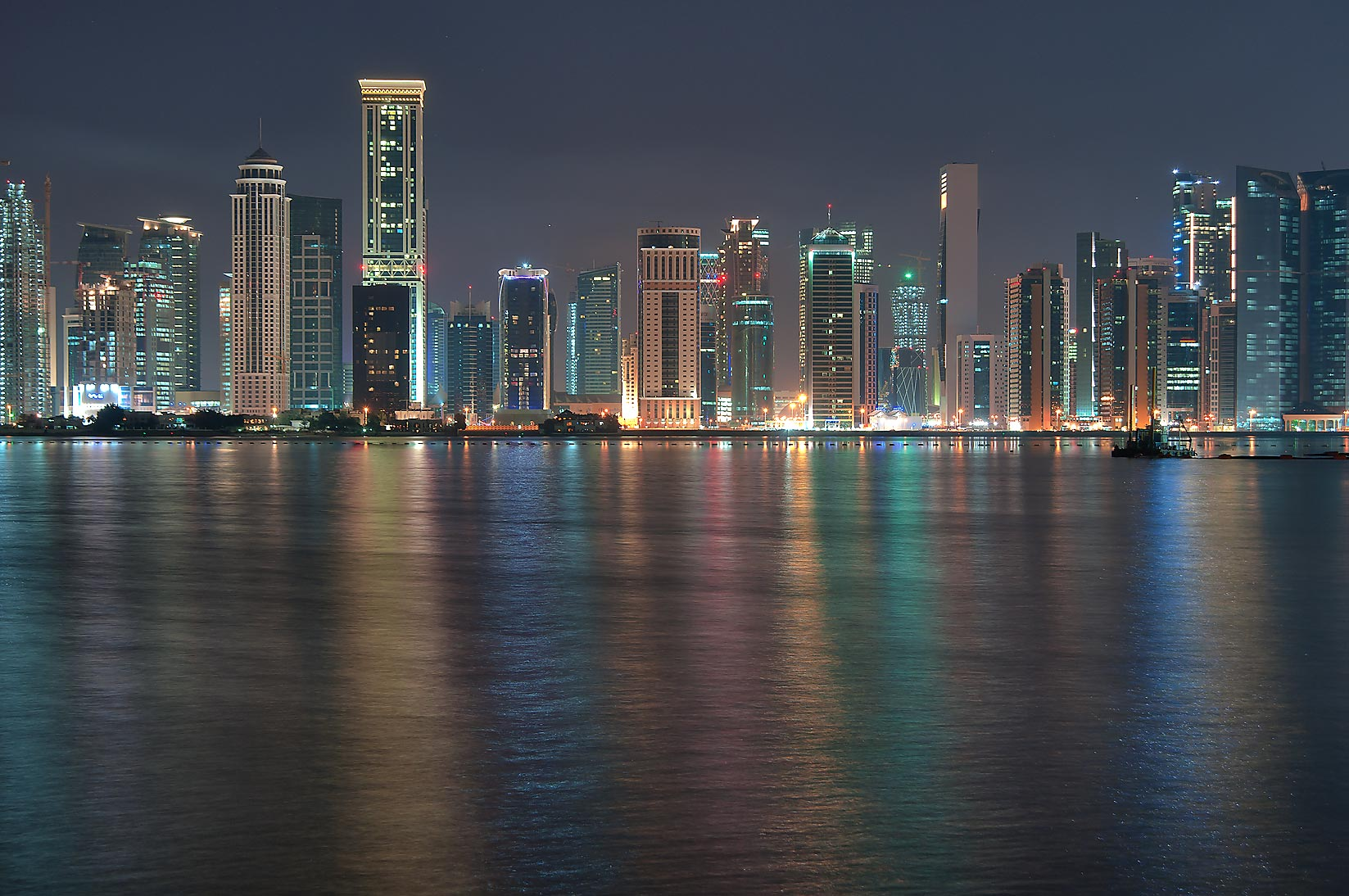Diplomatic area of West Bay from a beach near...Hotel before sunrise. Doha, Qatar