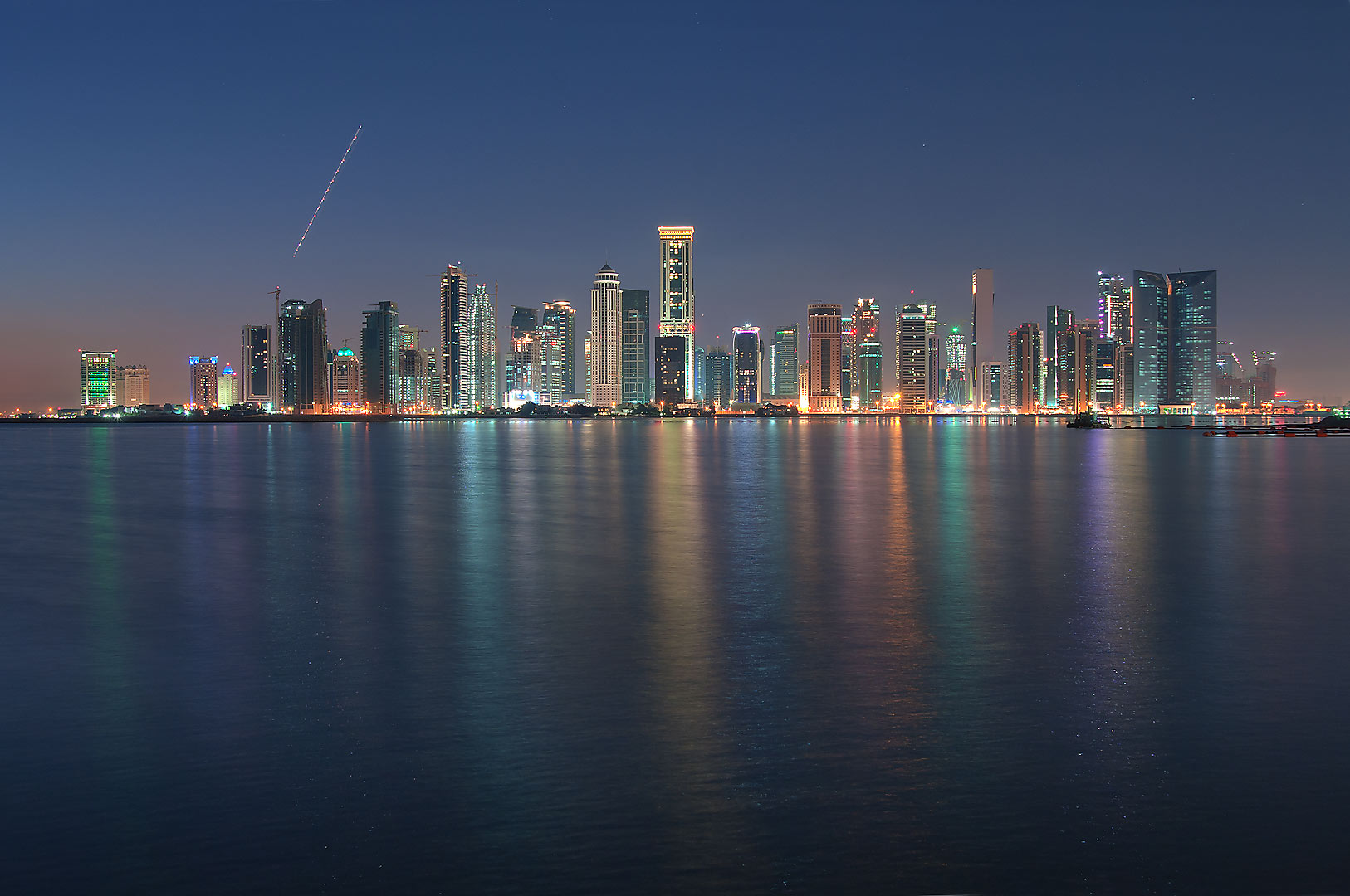 West Bay from a beach near InterContinental Hotel at morning dusk. Doha, Qatar