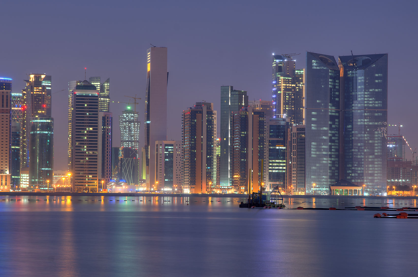 Area of Asas Twin Towers in West Bay from a beach...Hotel at morning dusk. Doha, Qatar