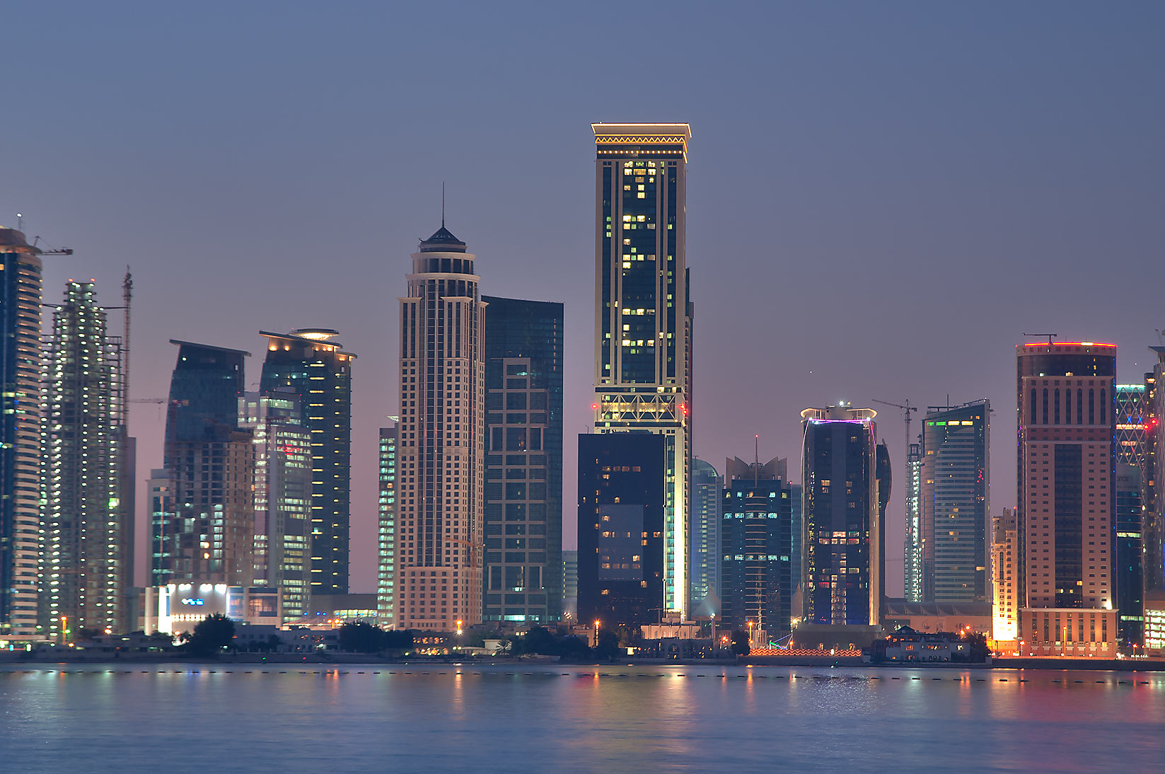 Area of Kempinski and Somerset Hotels in West Bay...Hotel before sunrise. Doha, Qatar
