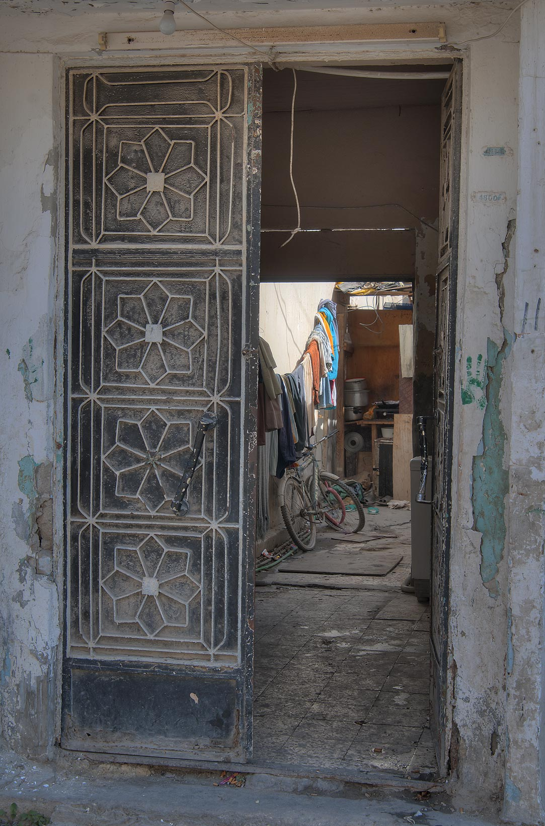 Decorated door near Tariq Bin Ziyad St. in Old Ghanam area. Doha, Qatar