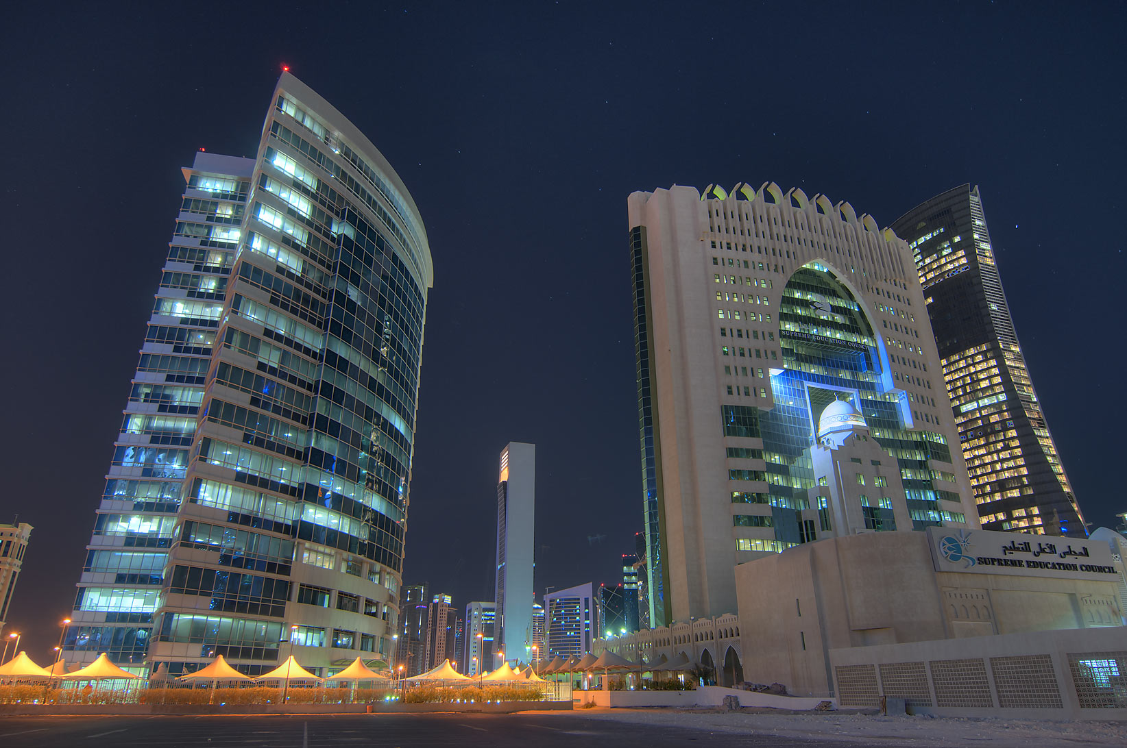 Al Wosail Tower and Ministry of Education in West Bay. Doha, Qatar