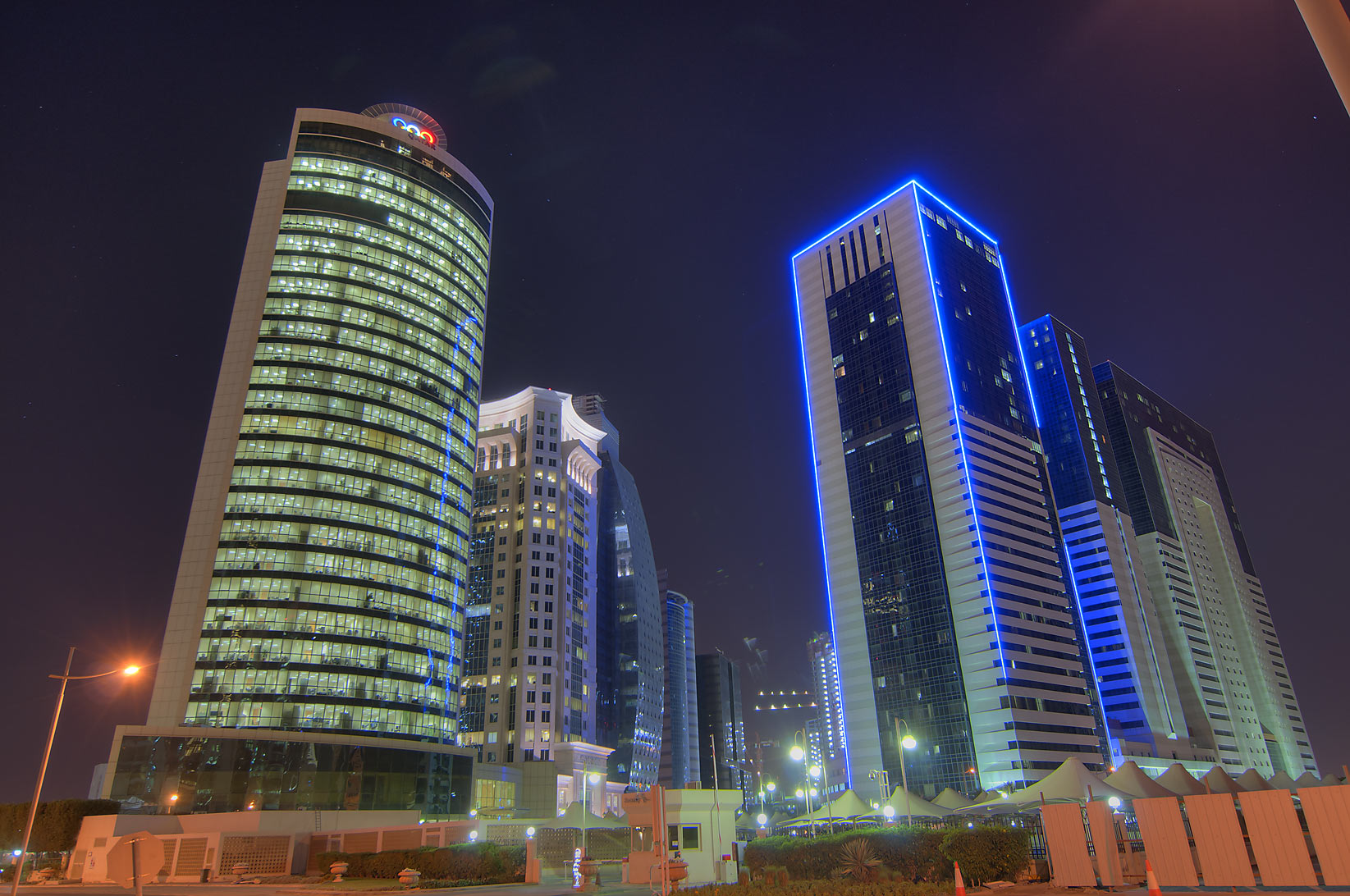 Olympic Tower and Ezdan Hotel in West Bay. Doha, Qatar