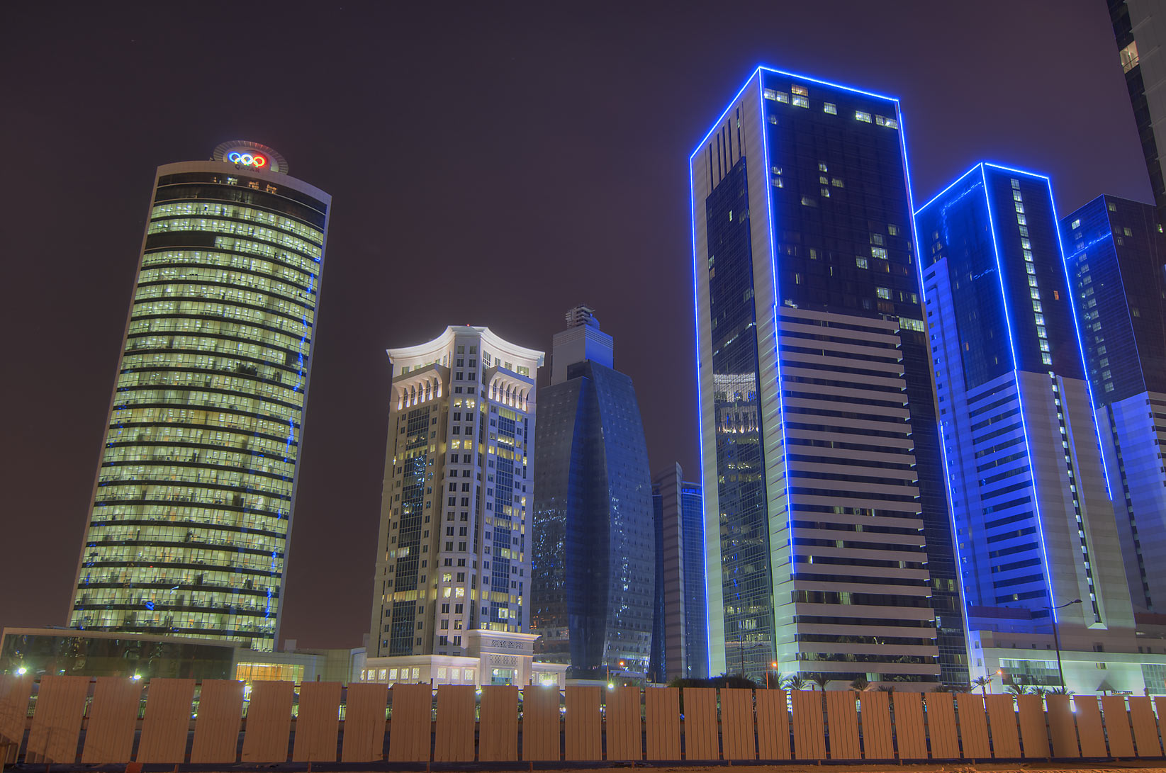 Olympic Tower, Al Qassar, and Ezdan Hotel in West Bay. Doha, Qatar