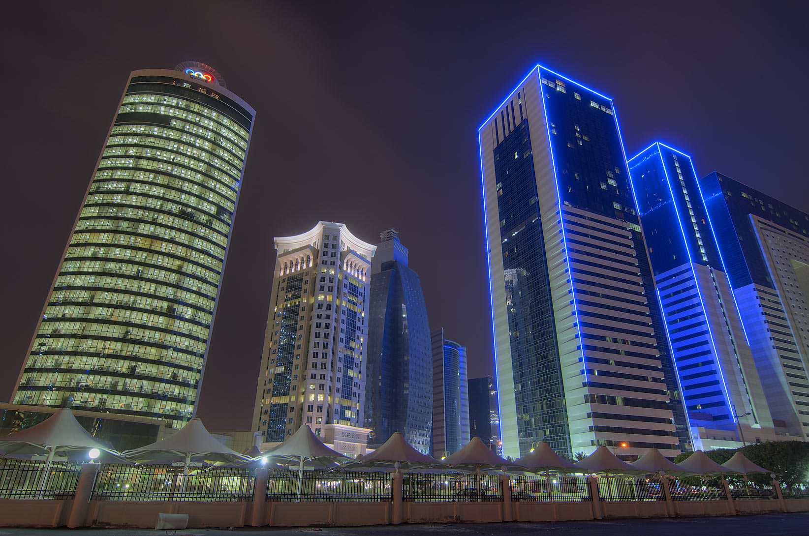 Al Qassar, Ezdan Hotel, and Olympic Tower from...south from Al Sham St.. Doha, Qatar