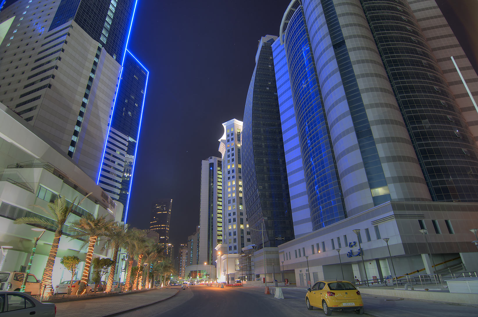 Area near the entrance of Ezdan Hotel in West Bay. Doha, Qatar
