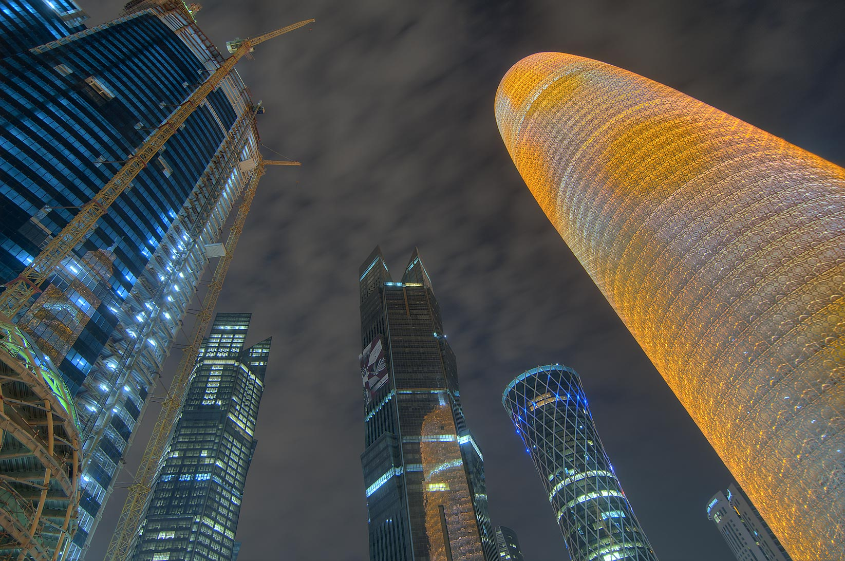 World Trade Center Tower and Complex (WTC) and Burj Qatar towers in West Bay. Doha, Qatar