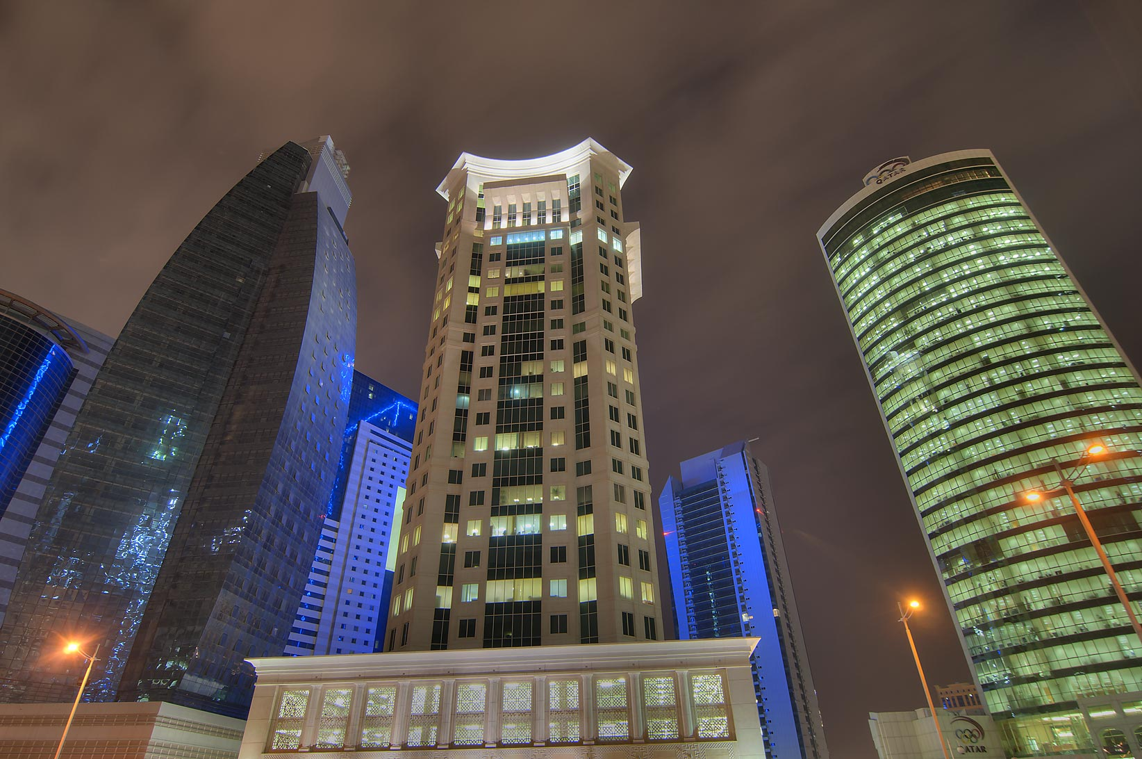 Al Huda Engineering Works, Al Qassar and Olympic towers in West Bay. Doha, Qatar