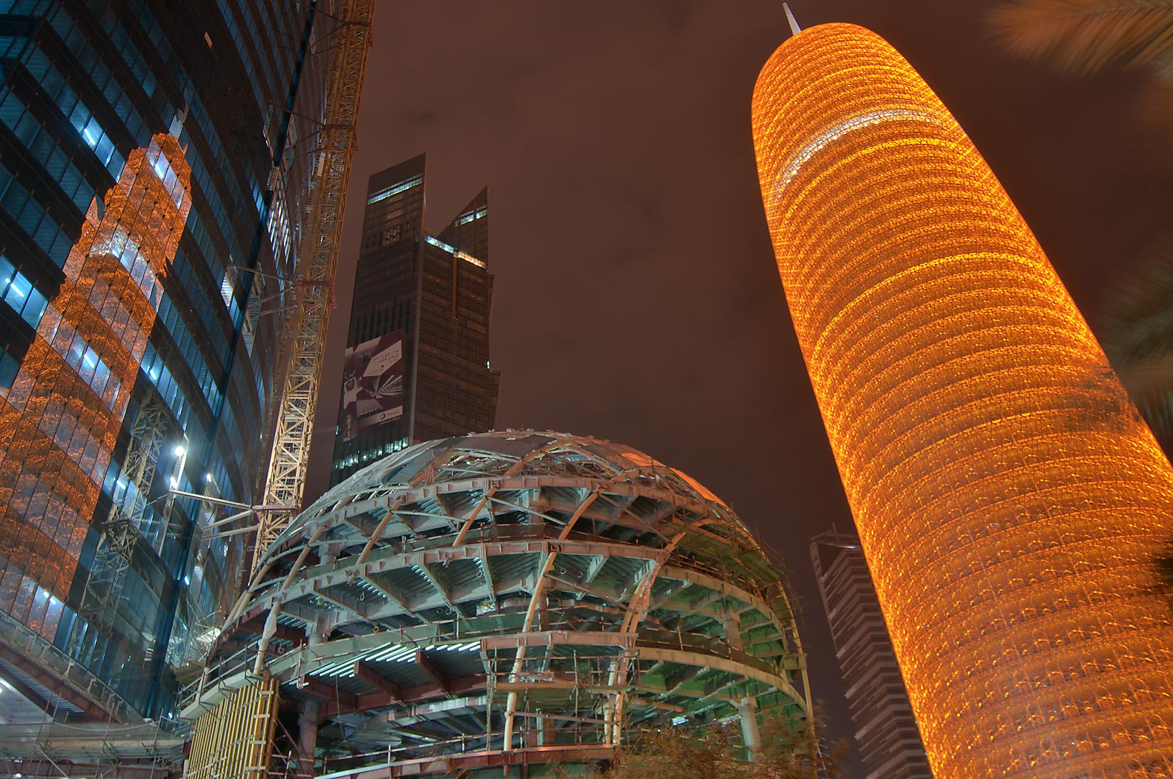 Spherical structure of World Trade Center (WTC...Qatar Tower in West Bay. Doha, Qatar