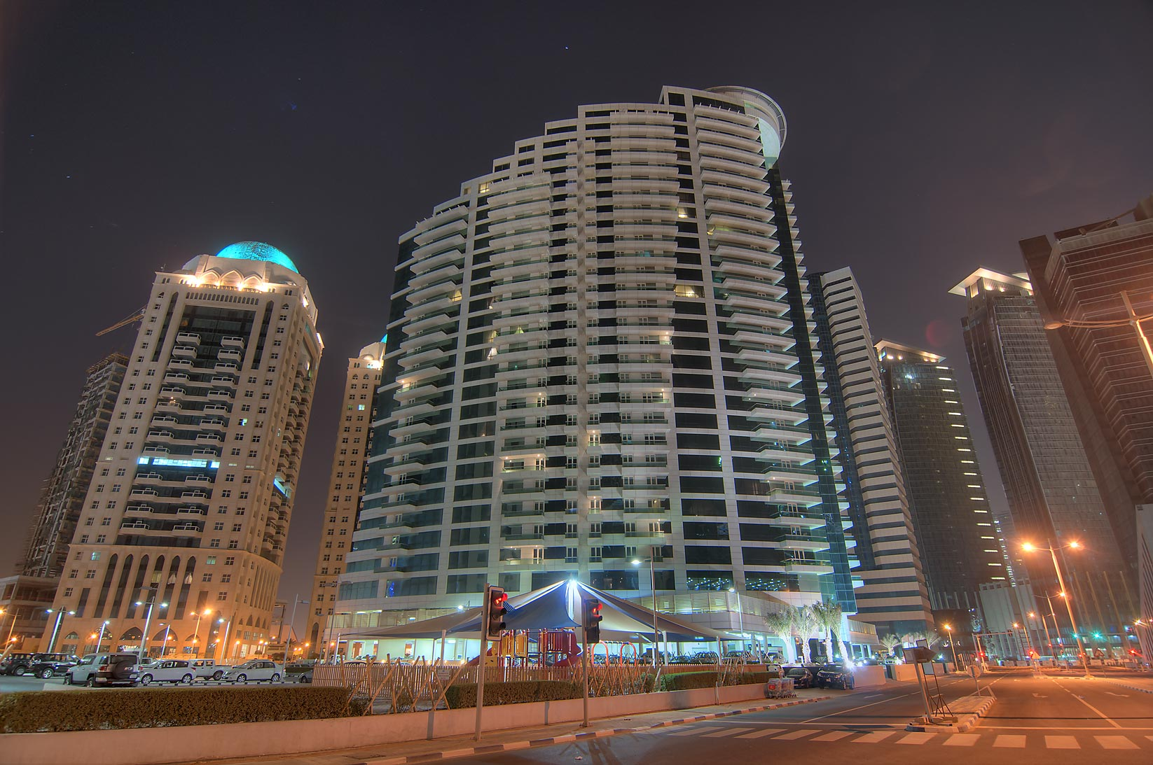Al Maha Tower and Beverly Hills in West Bay. Doha, Qatar