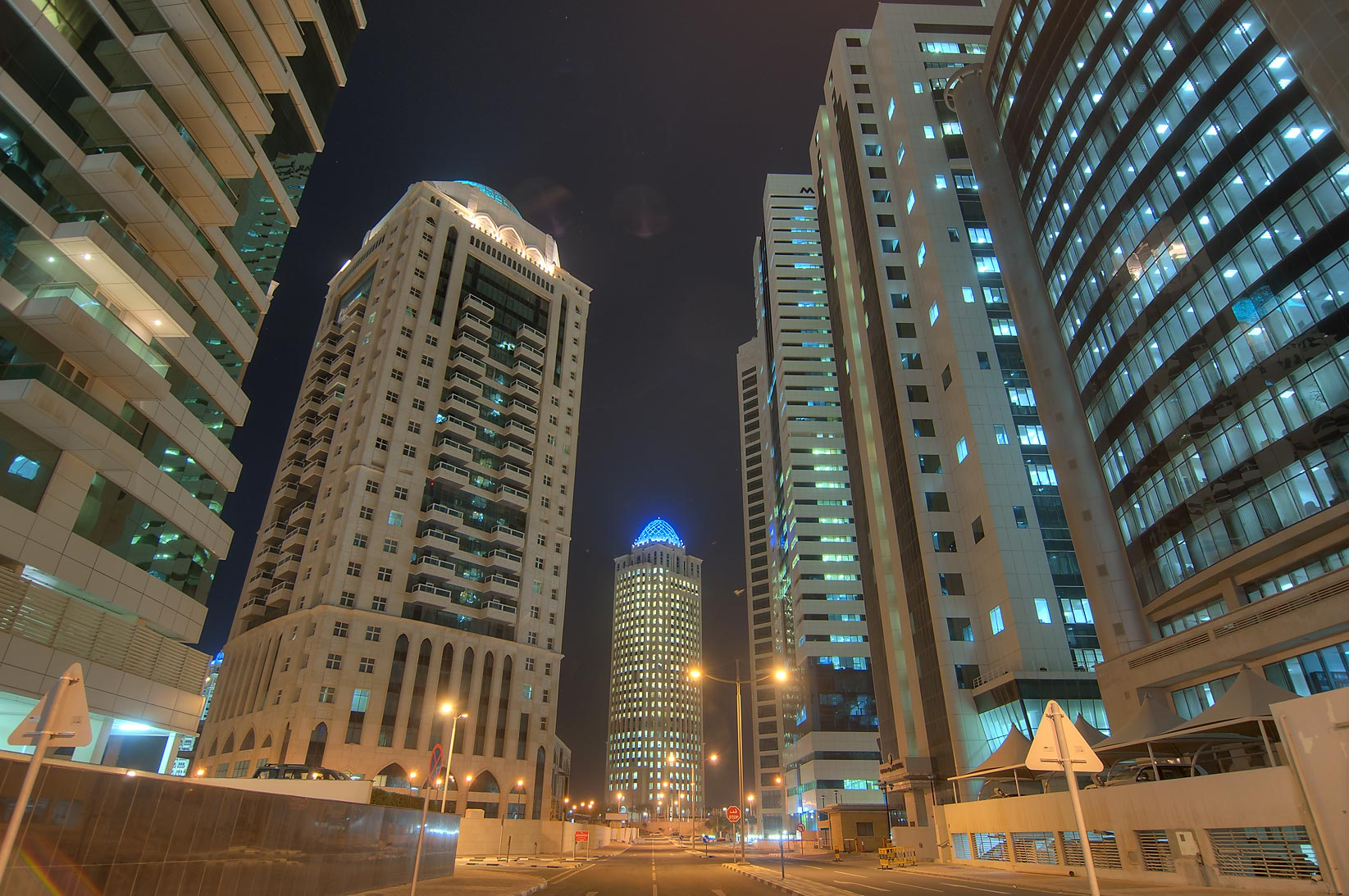 View from a base of RasGas Tower in West Bay. Doha, Qatar