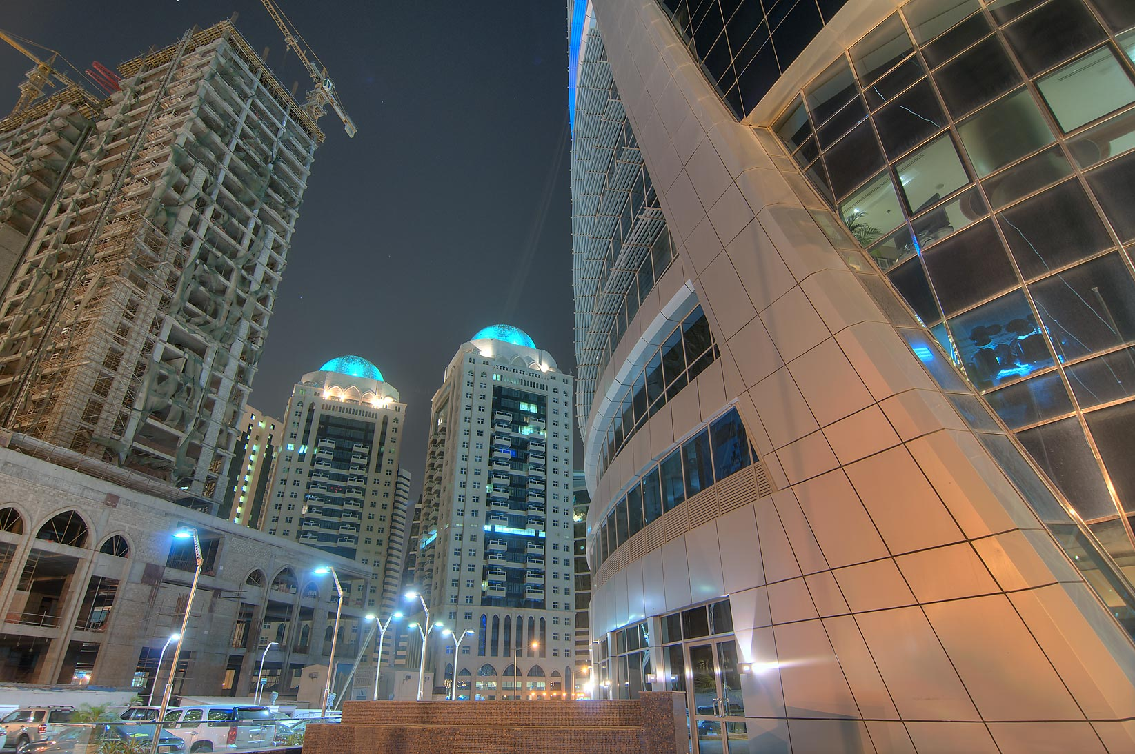 View from a base of Moevenpick Hotel in West Bay. Doha, Qatar