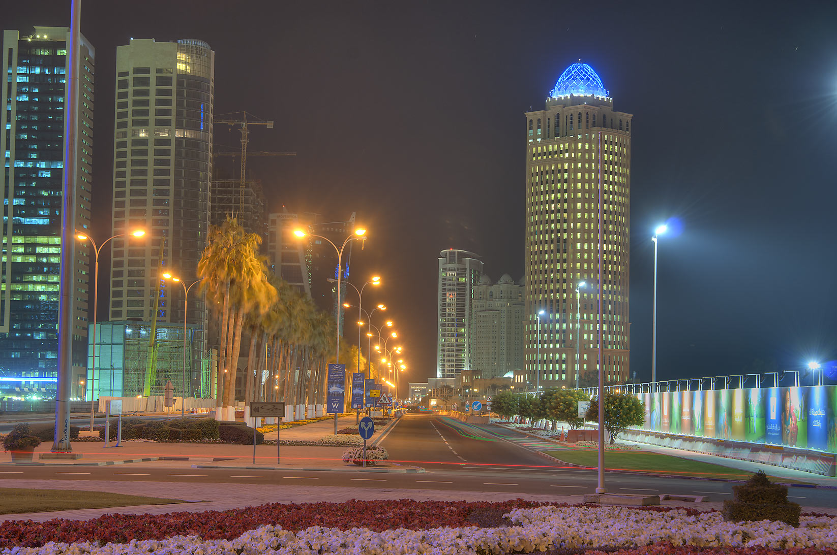 QTel Tower and Diplomatic St. in West Bay from Exhibition Roundabout. Doha, Qatar