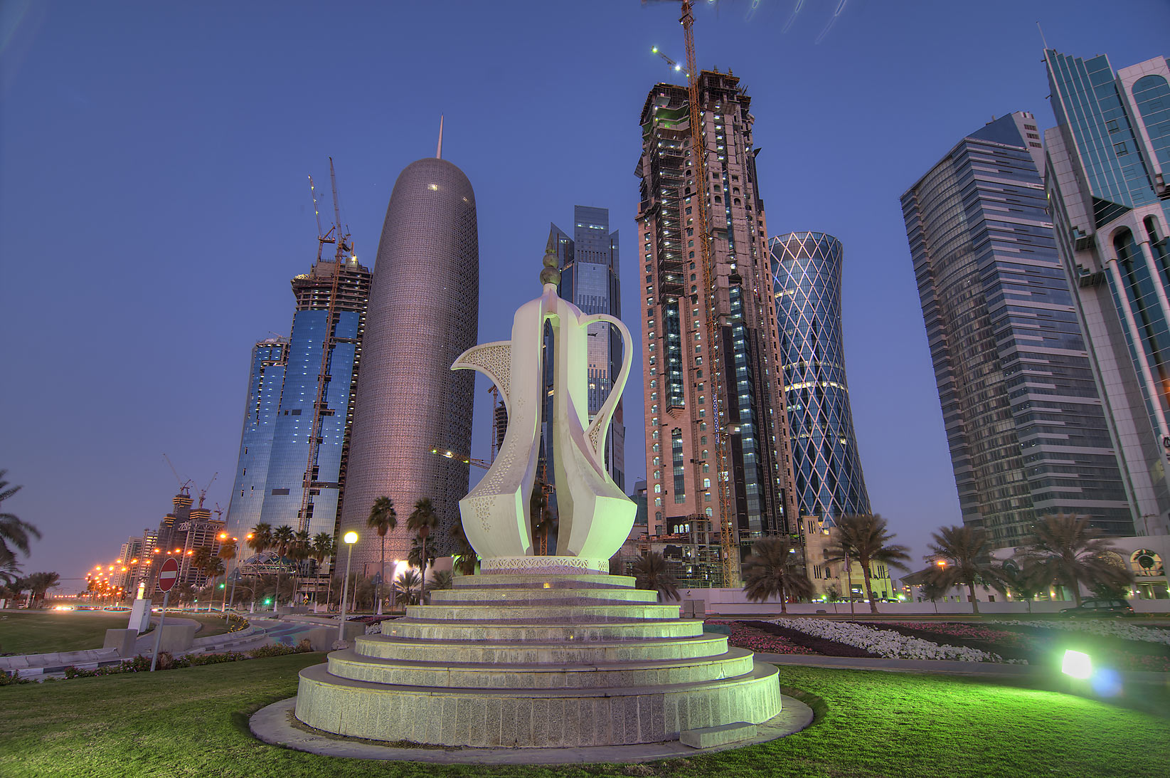 Giant teapot sculpture (dallah, or coffee pot...near Sheraton Park. Doha, Qatar