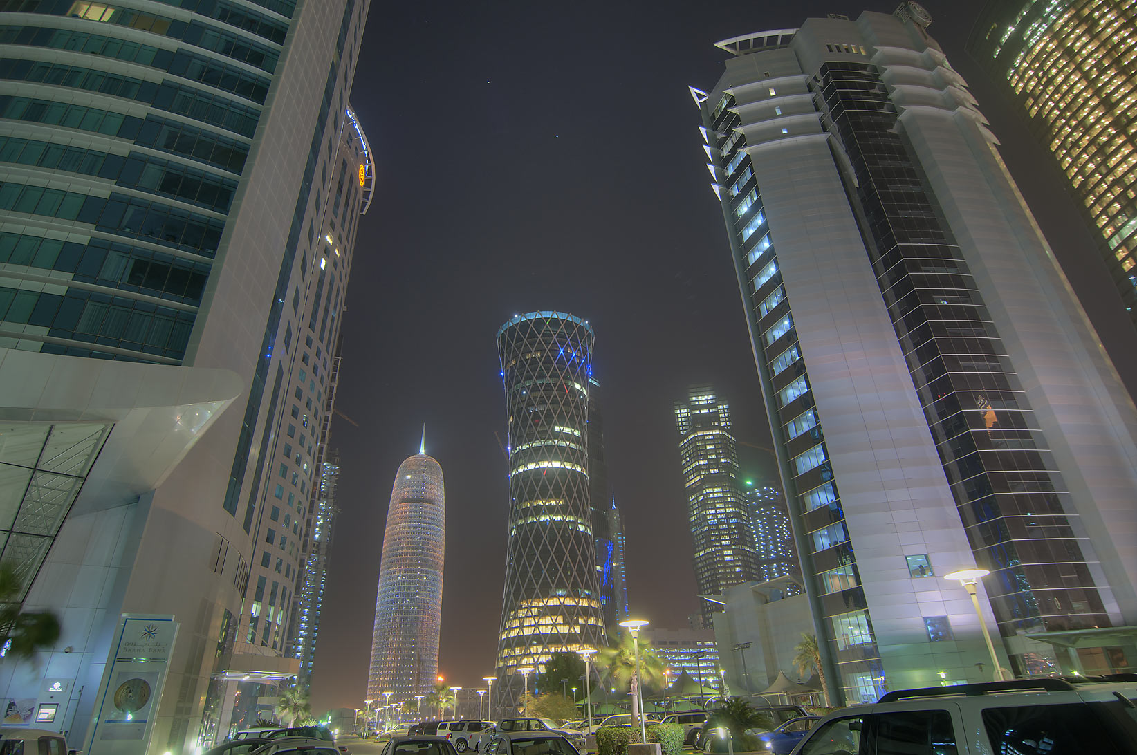 Tornado Tower and and Ministry of Commerce in...area of Al Fardan Towers. Doha, Qatar