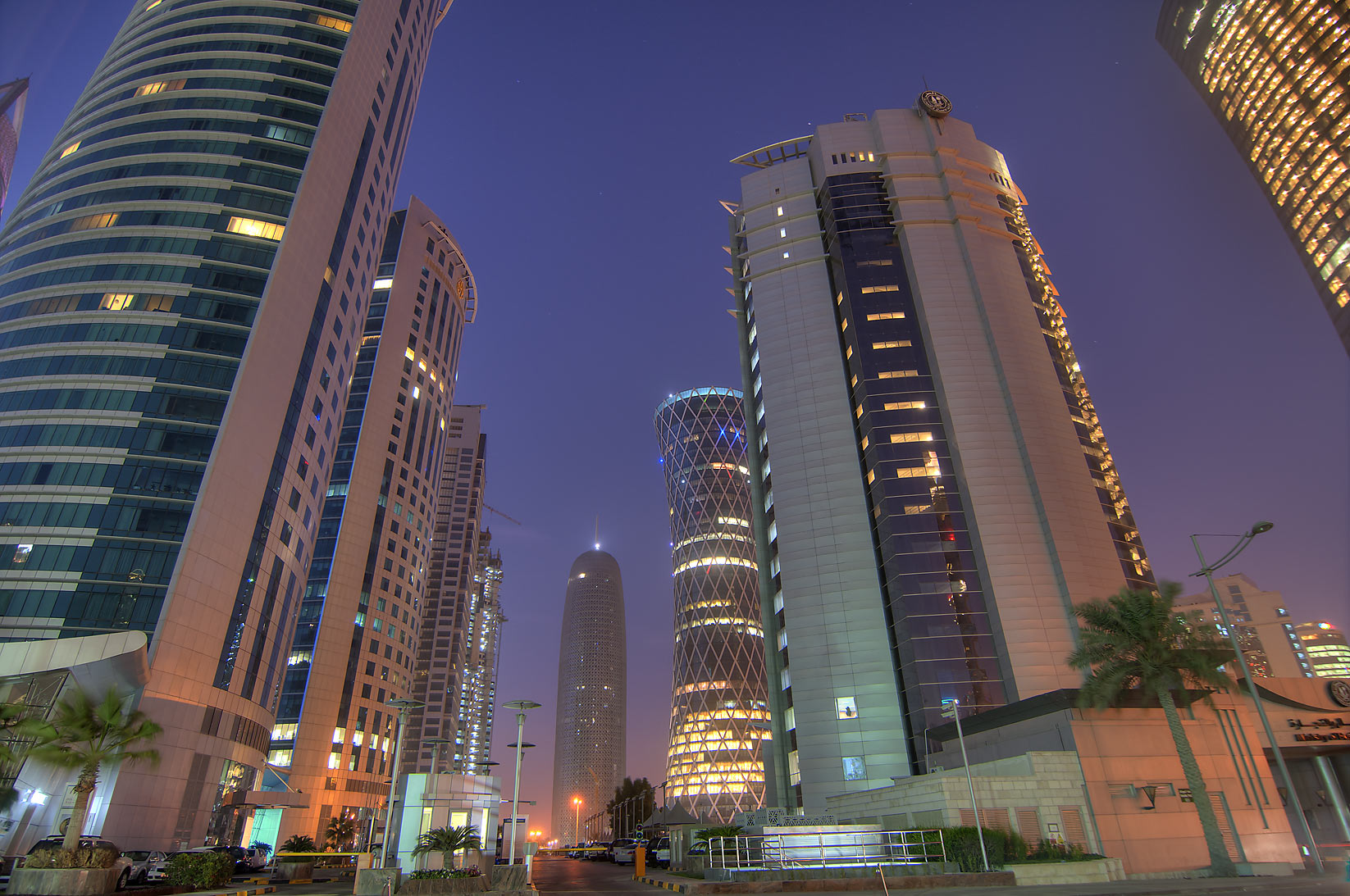 View from a parking lot of Al Fardan Twin Towers in West Bay. Doha, Qatar