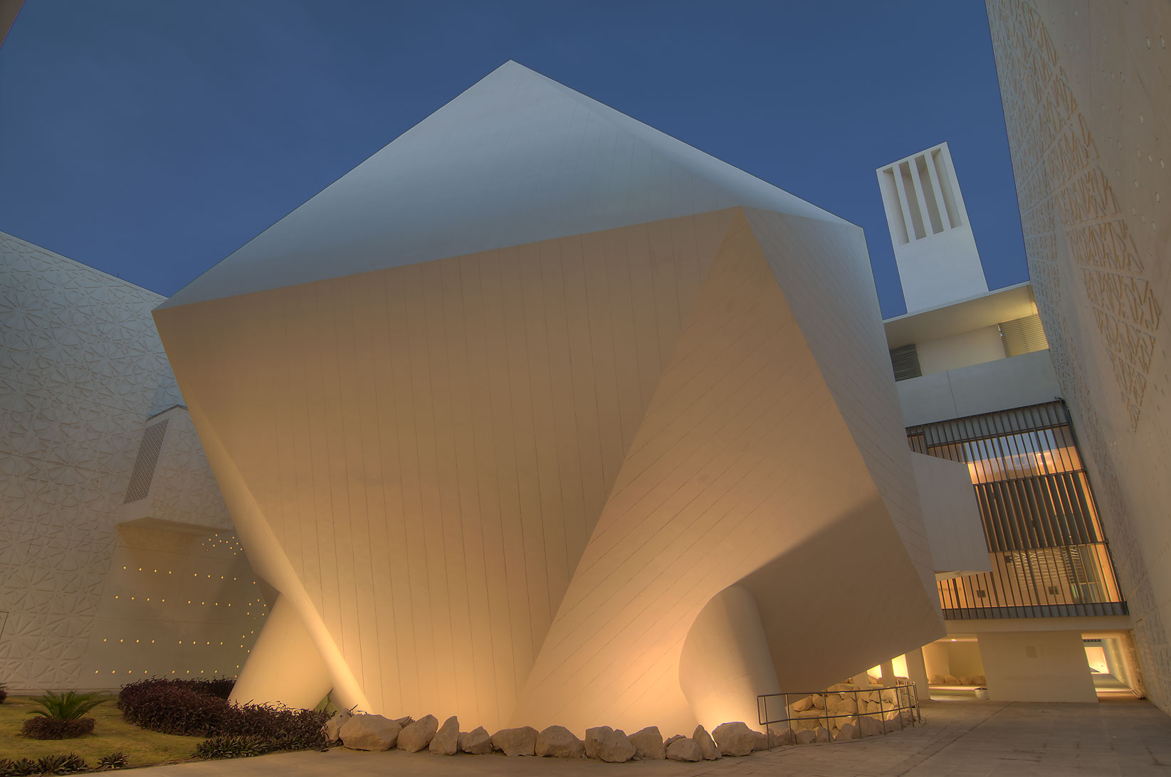 Icosahedron lecture hall of Weill Cornell Medical...City campus at evening. Doha, Qatar