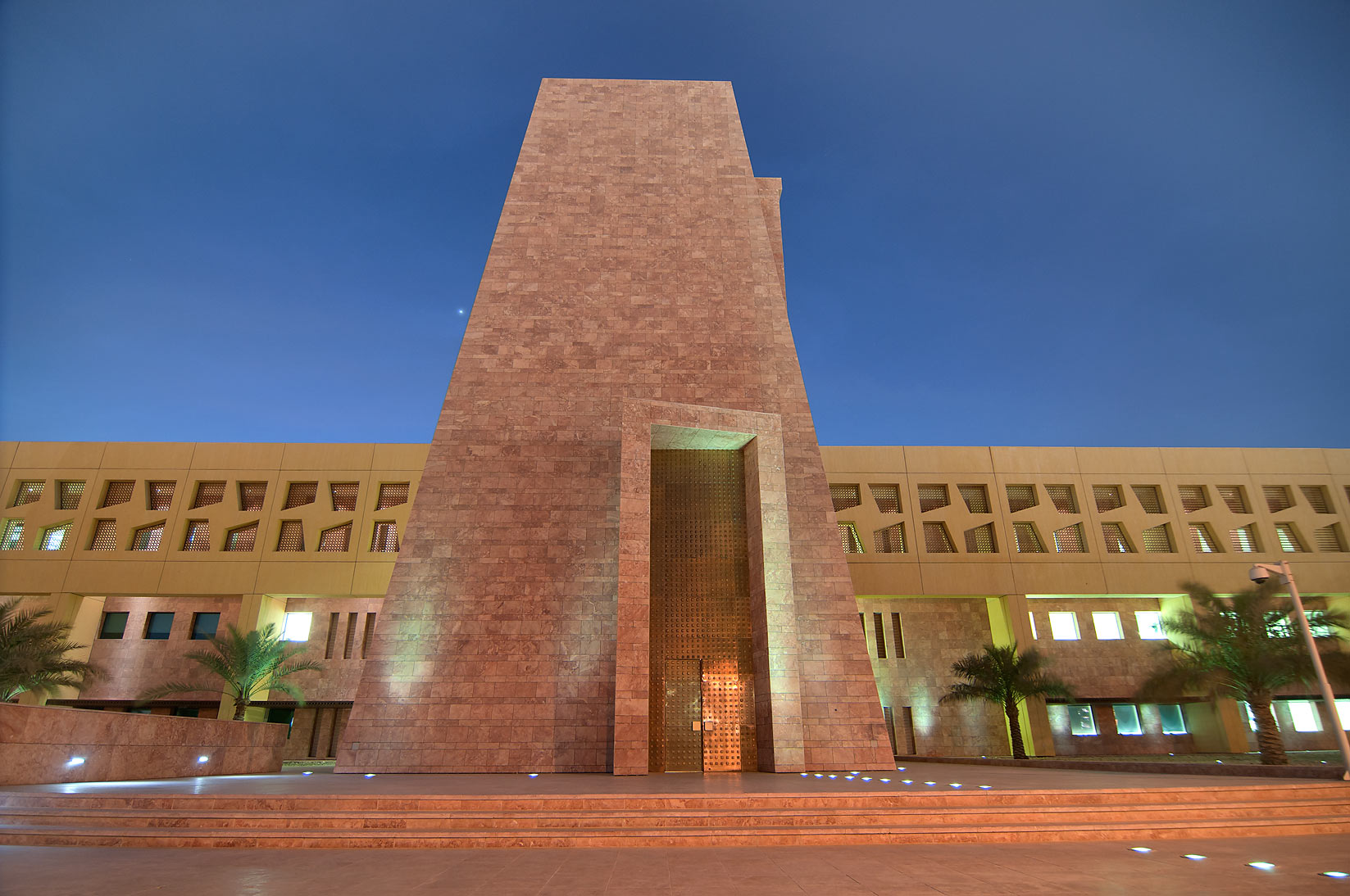 Main entrance of TAMUQ (Texas A&M University at Qatar) in Education City. Doha, Qatar