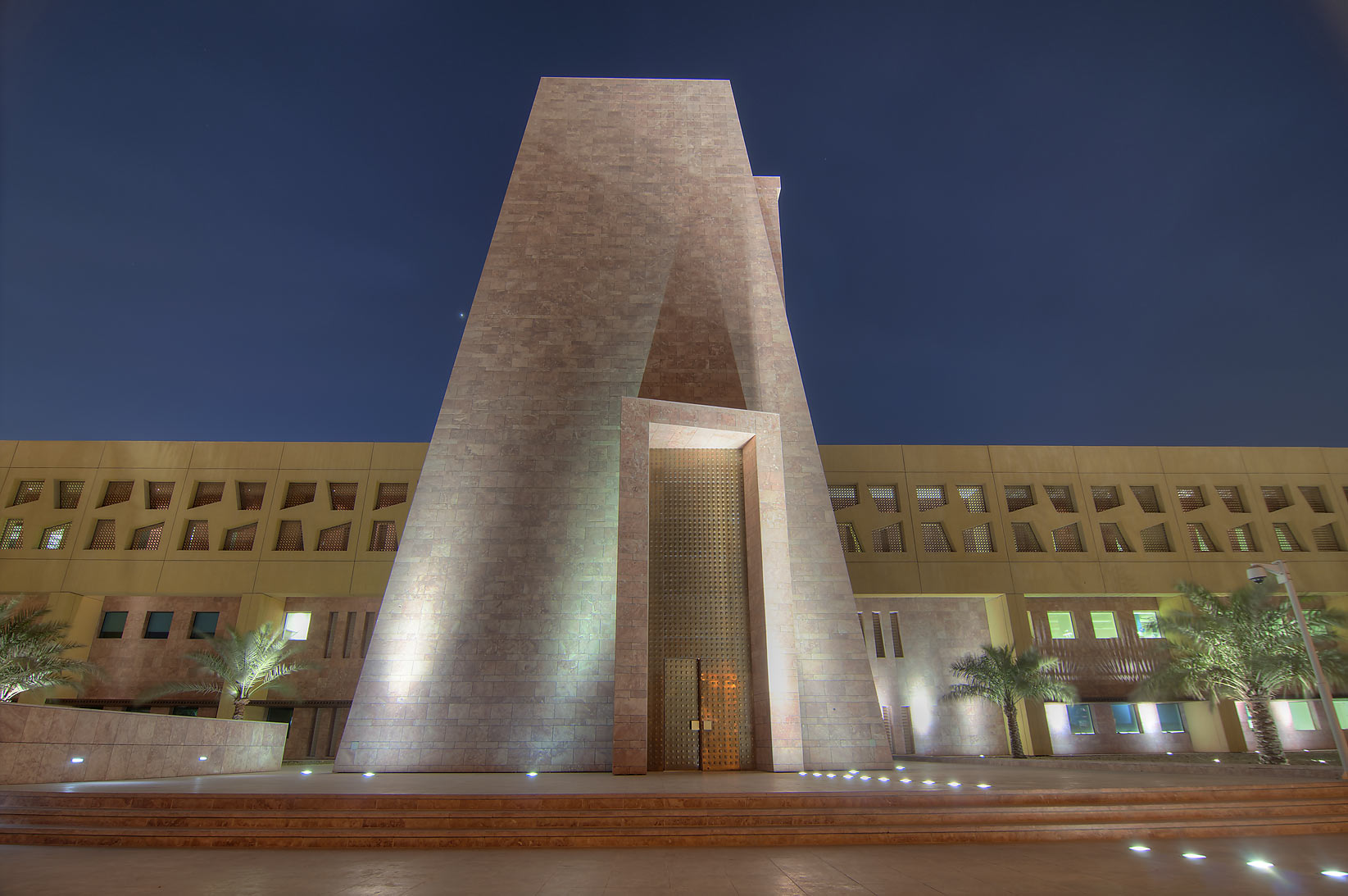 Main entrance of TAMUQ (Texas A&M University...Education City at evening. Doha, Qatar