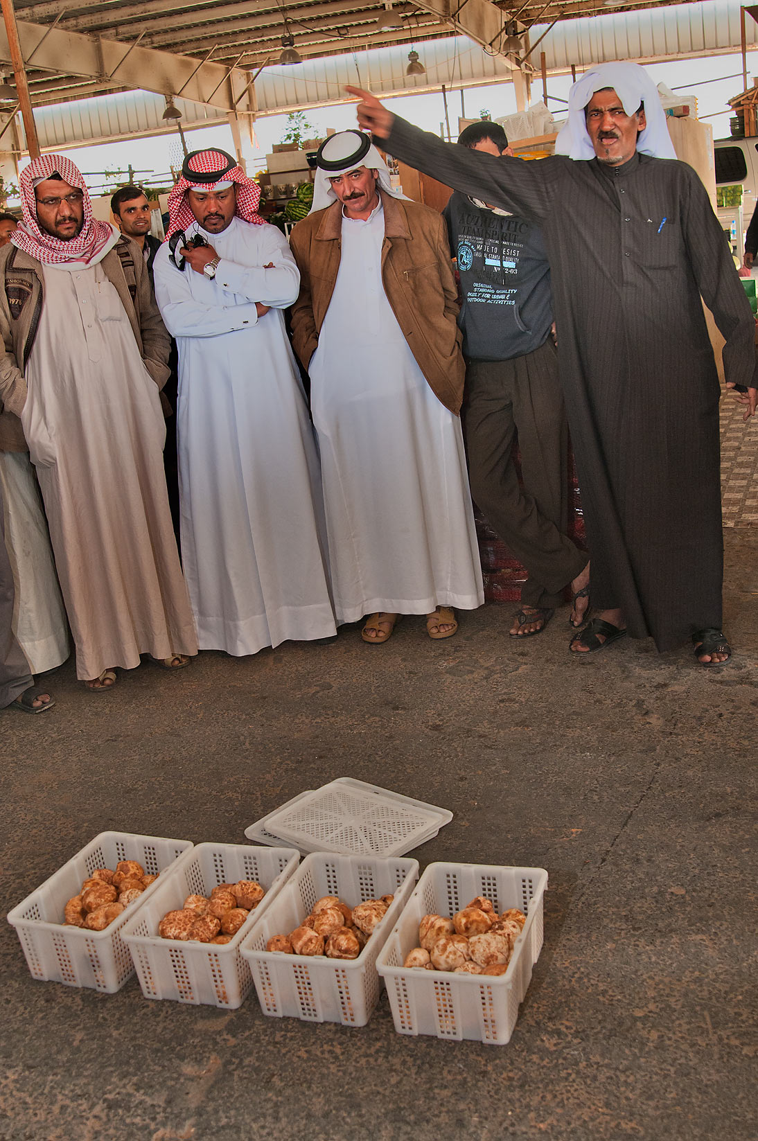 Selling desert truffles (faqah) at auction in Omani Market. Doha, Qatar