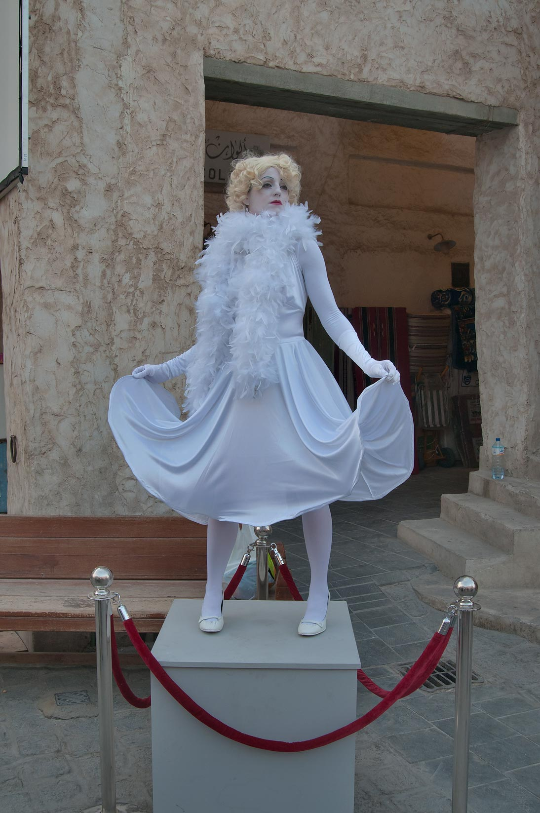 Live glamour human statue in Souq Waqif (Old Market). Doha, Qatar