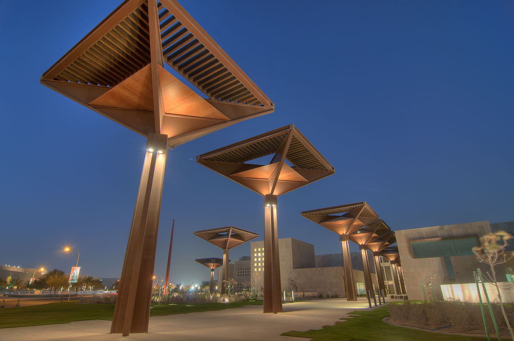 Lampposts of Student Center on campus of Education City. Doha, Qatar
