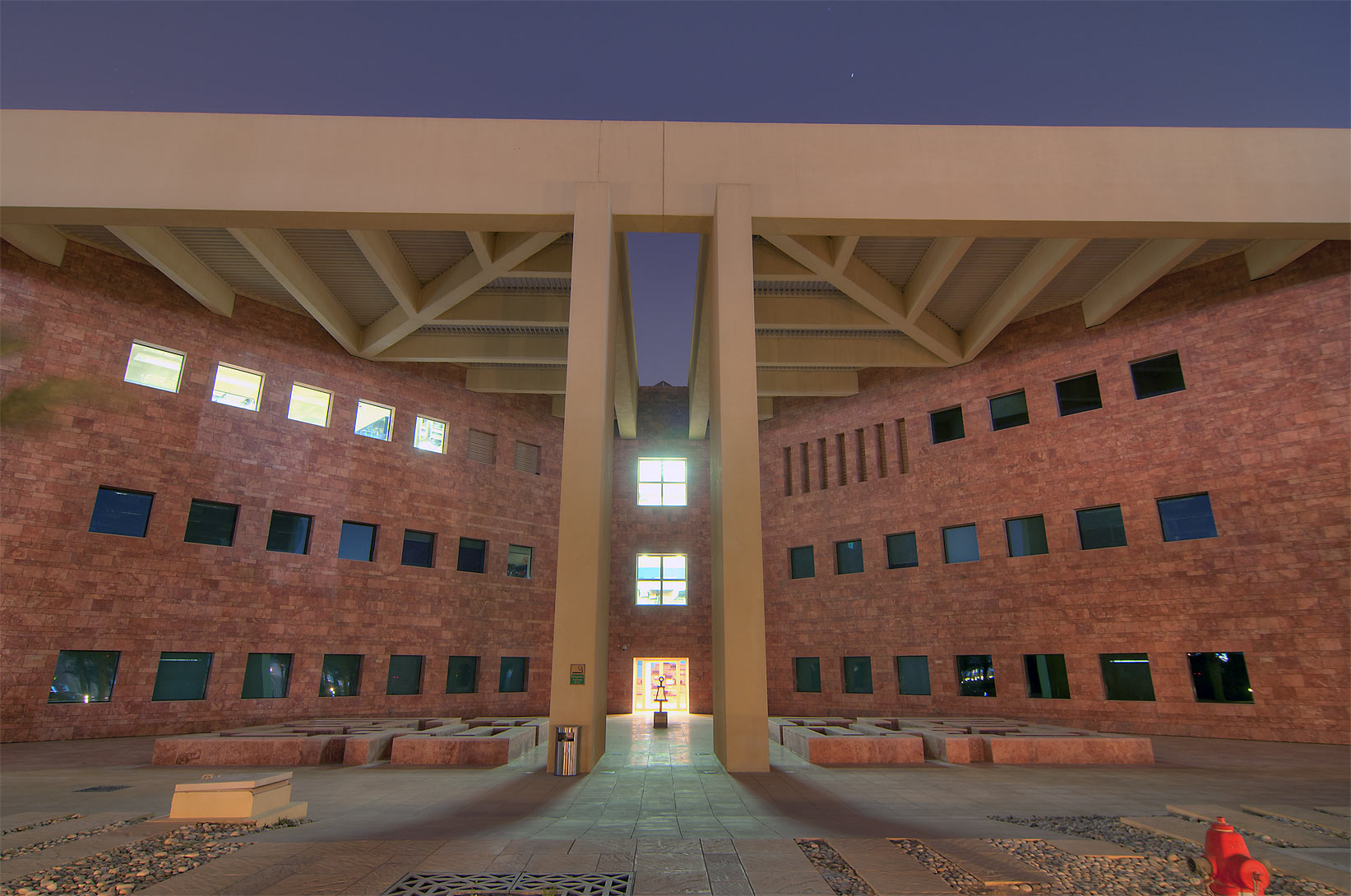 West entrance of TAMUQ research area (Texas A&M...City campus at evening. Doha, Qatar