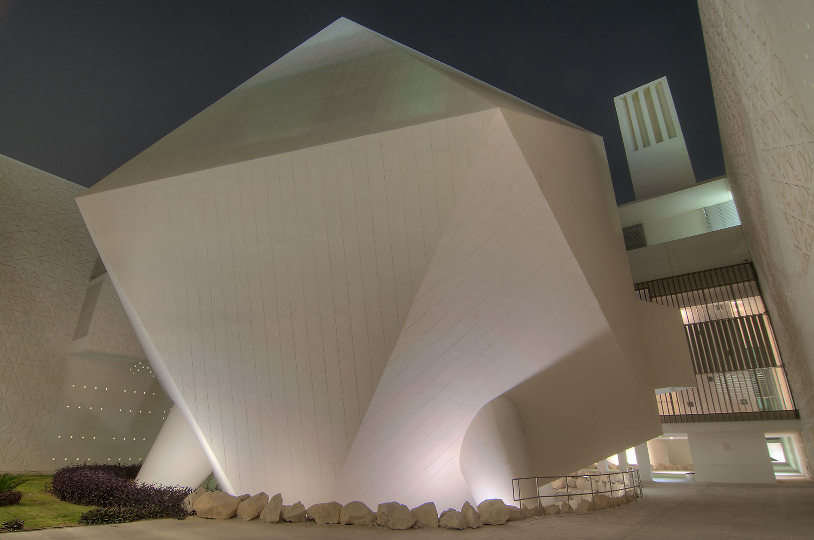 Icosahedron lecture hall of Weill Cornell Medical College in Education City. Doha, Qatar