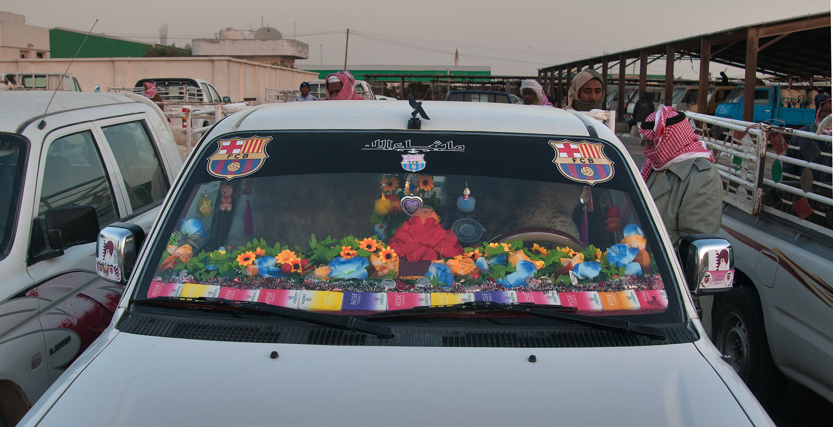 Gaudily decorated sheep truck in Wholesale Animal Market. Doha, Qatar