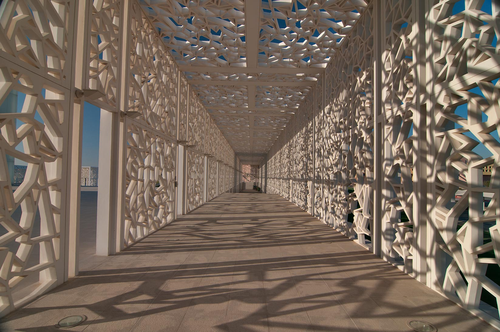 Shaded walkway of Ceremonial Court in Education City campus. Doha, Qatar