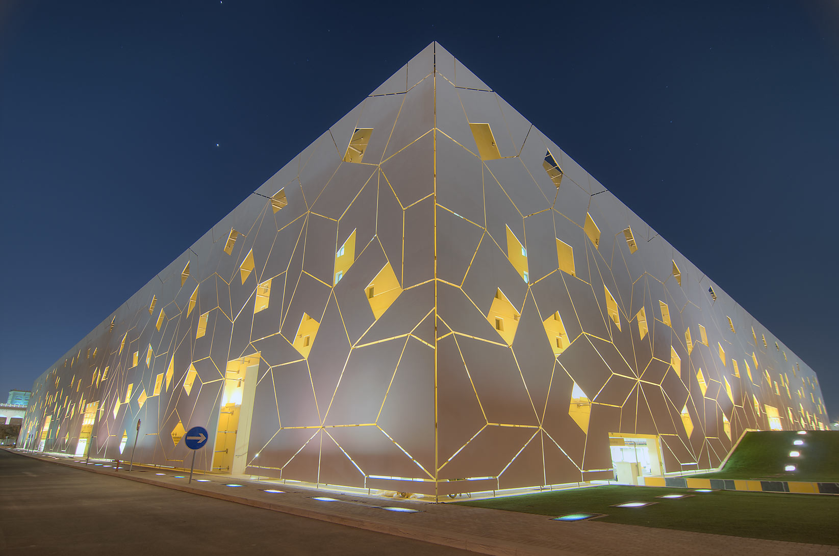 Liberal Arts and Science (LAS) building in Education City campus, at evening. Doha, Qatar