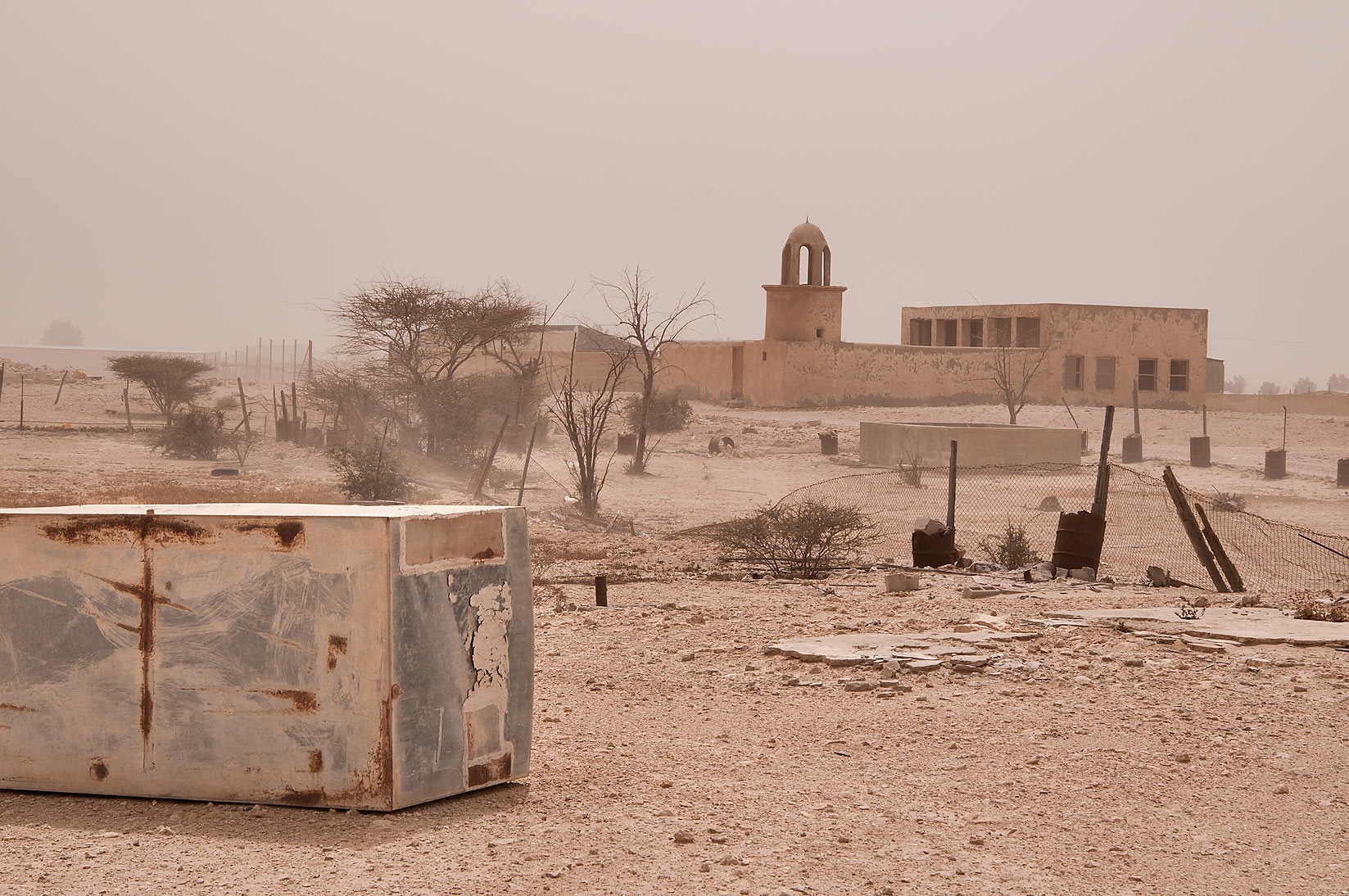 Ruins of old village of Jamilla in Al-Jumayliyah...Butti Shota Mosque in backgrond. Qatar