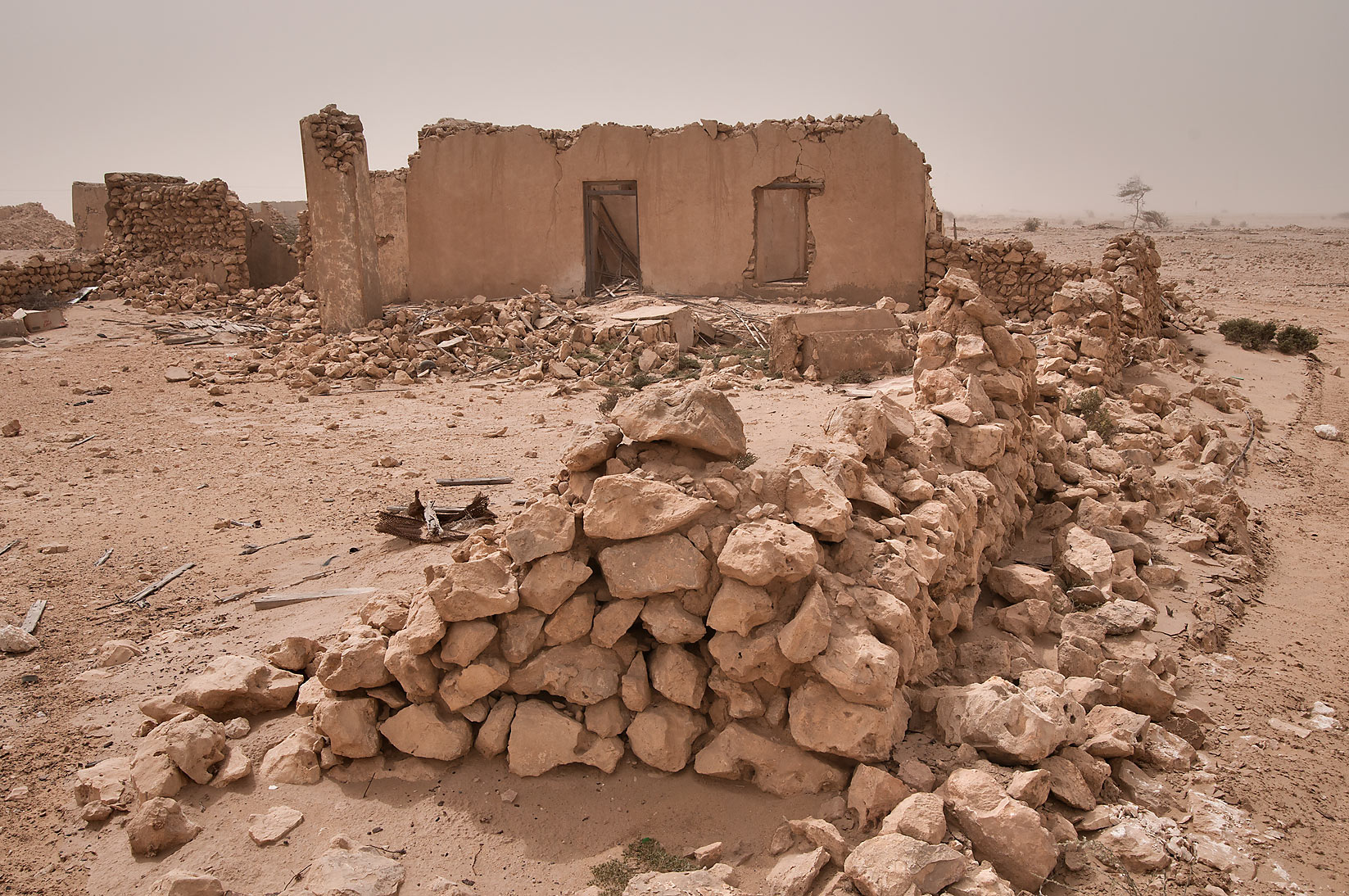 Stone ruins of old village of Jamilla in Al...a farm of bin Saif Al Mansouri. Qatar