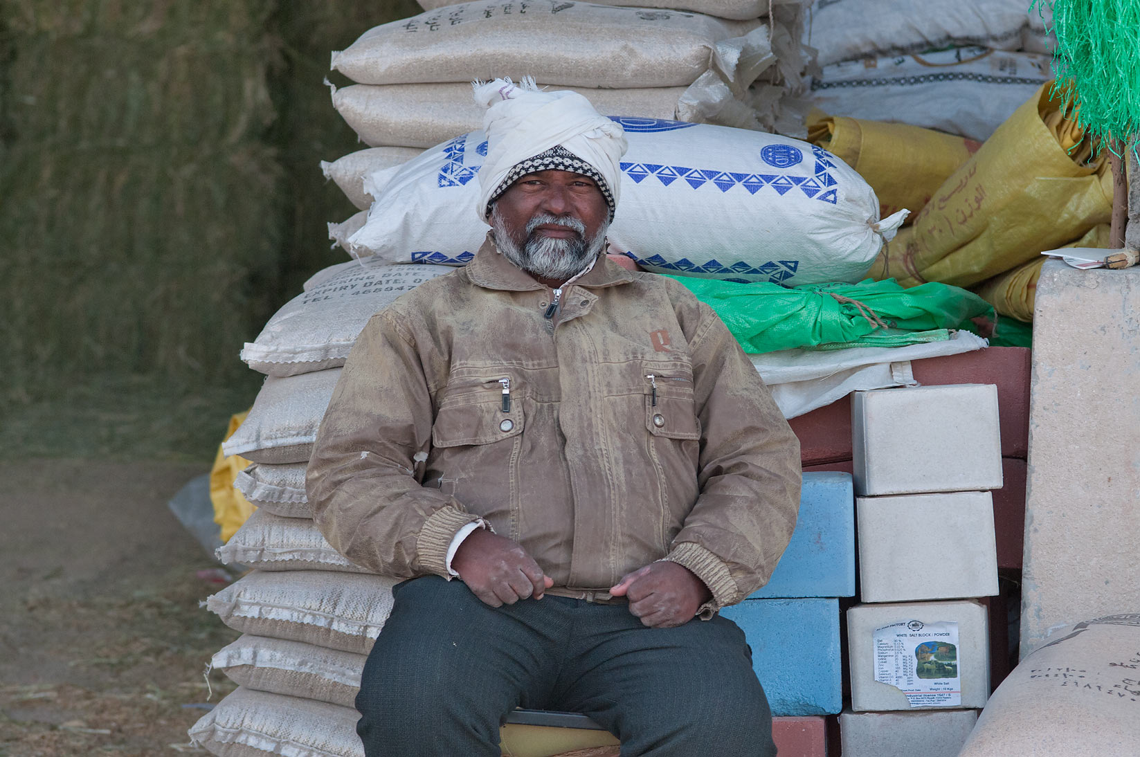 Seller of fodder in Animal Market, Wholesale Markets area. Doha, Qatar