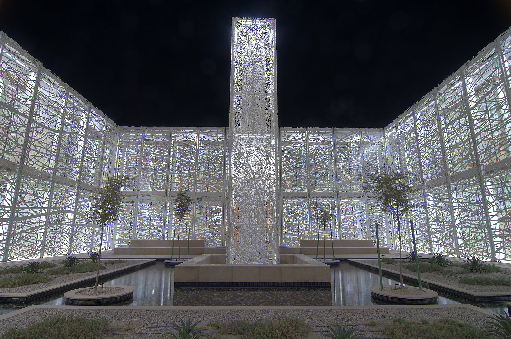 Illuminated Sculpture Garden by Jan Hendrix in a...in Education City campus. Doha, Qatar