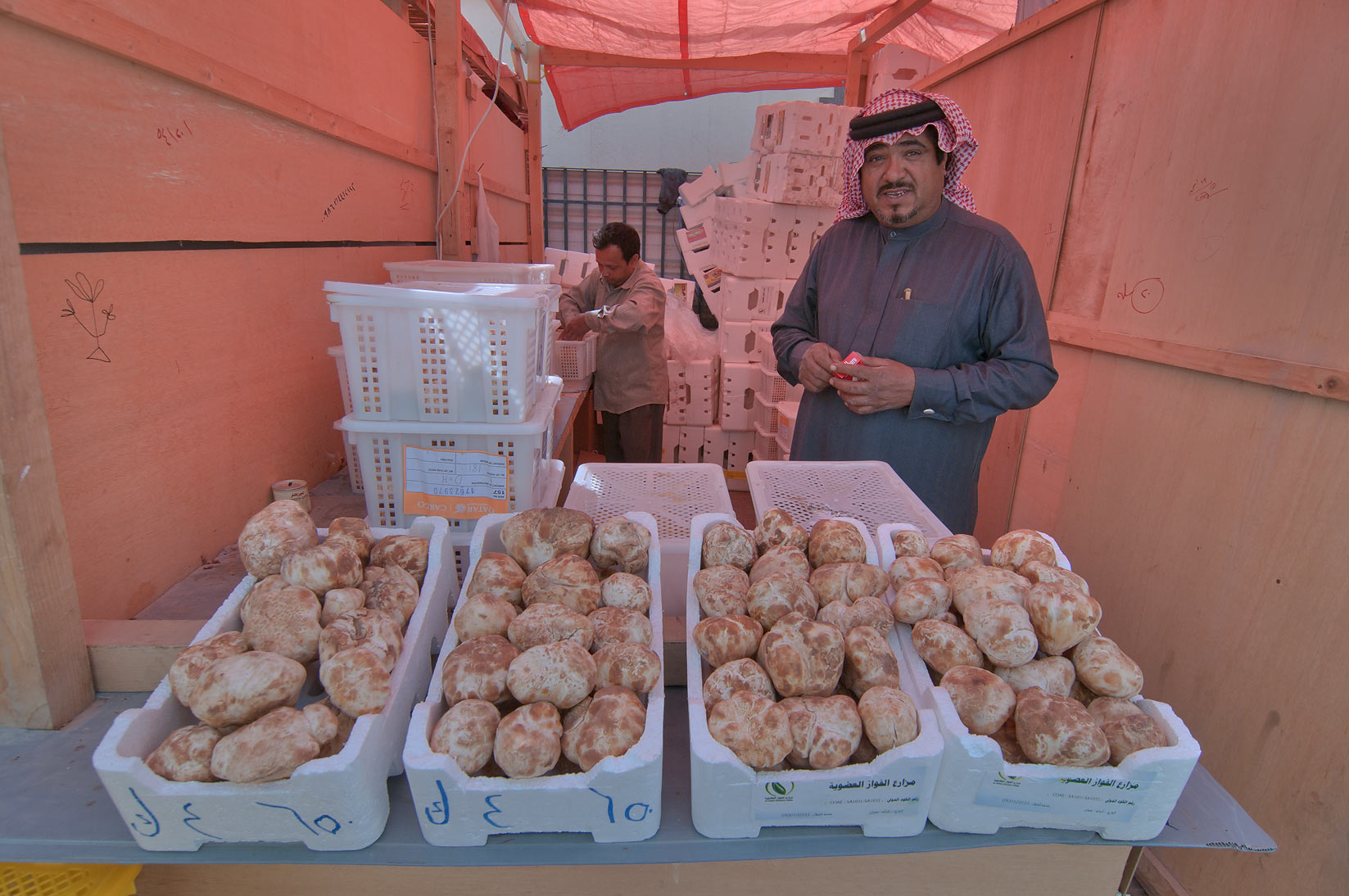 Selling desert truffles near Omani Souq, Wholesale Markets area. Doha, Qatar