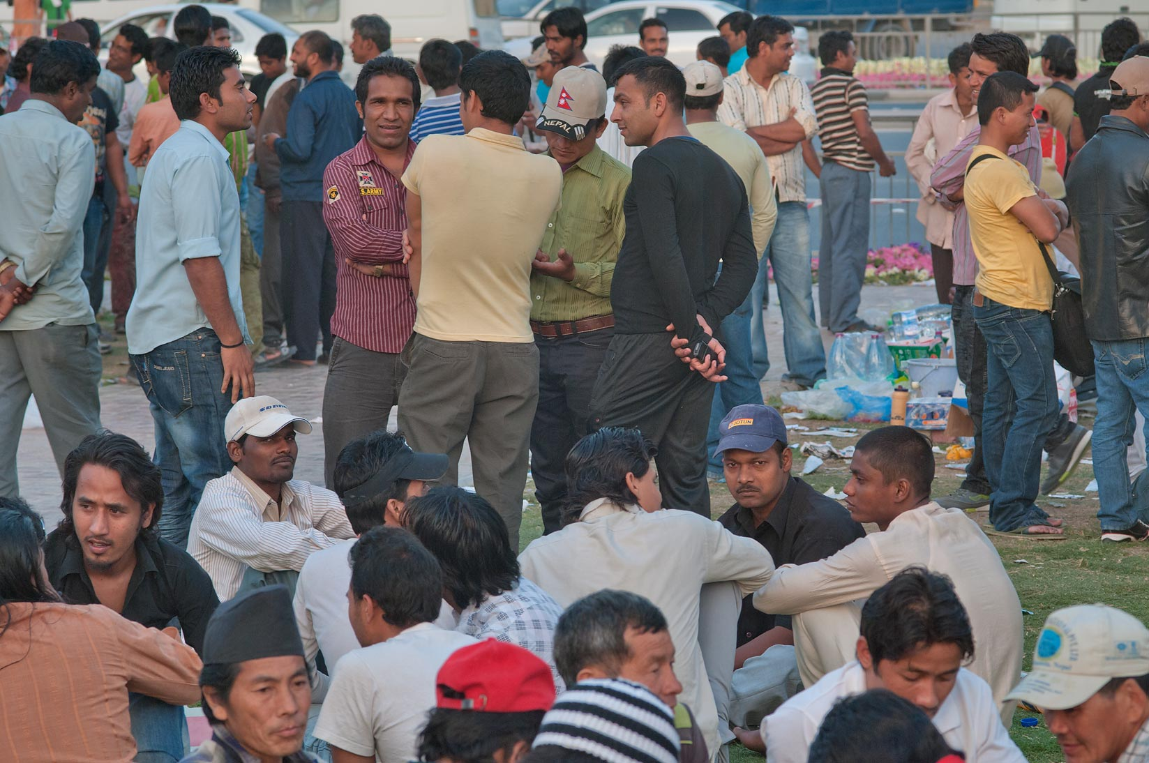 Migrant workers gathering at Grand Hamad...Al Ghanim on Friday. Doha, Qatar
