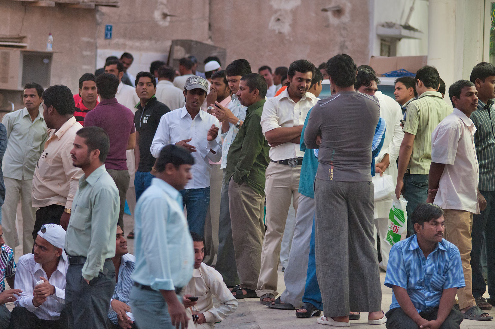 Friday evening gathering in area of Souq Najada. Doha, Qatar