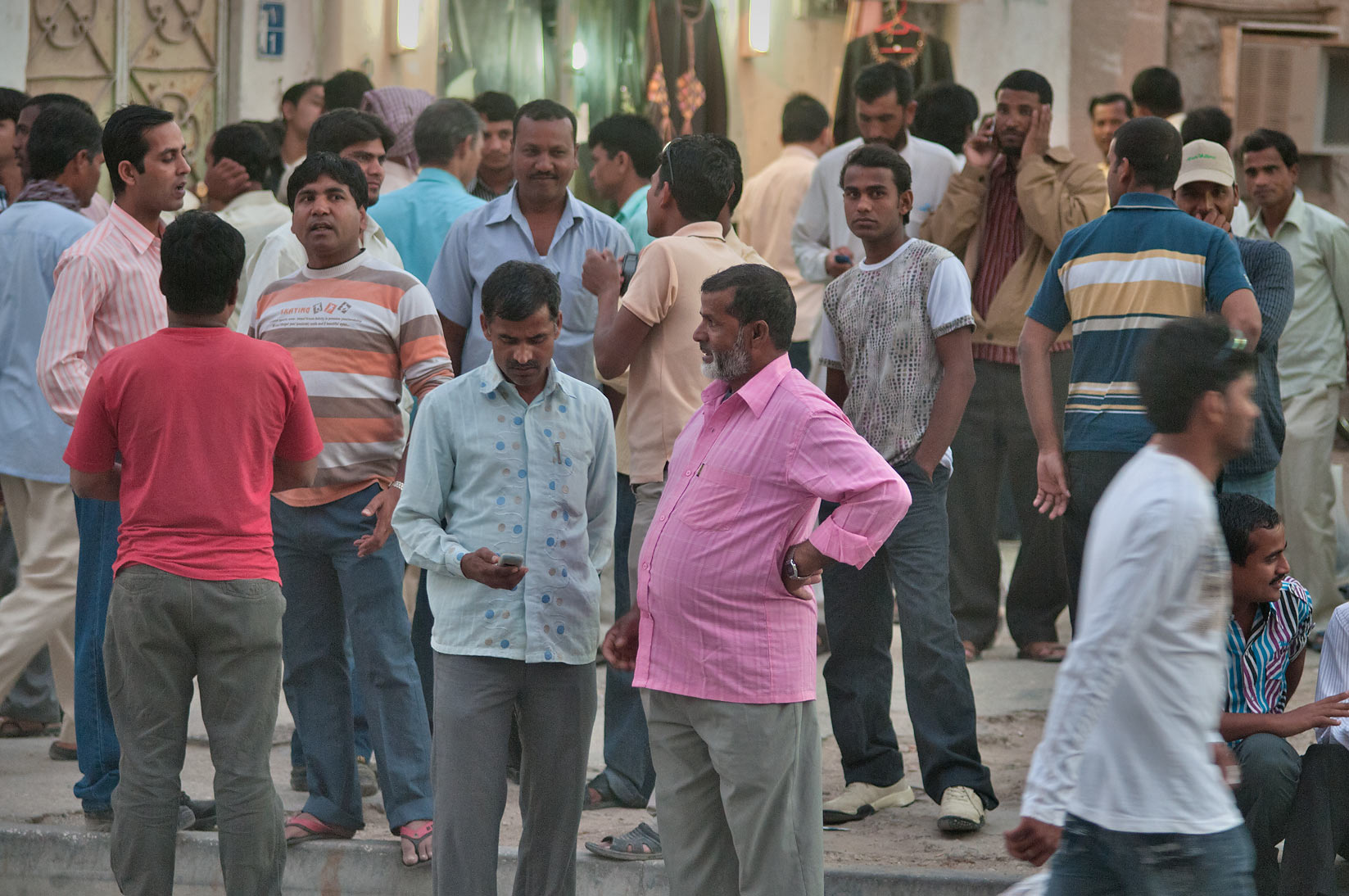 Friday evening crowds in area of Souq Najada. Doha, Qatar